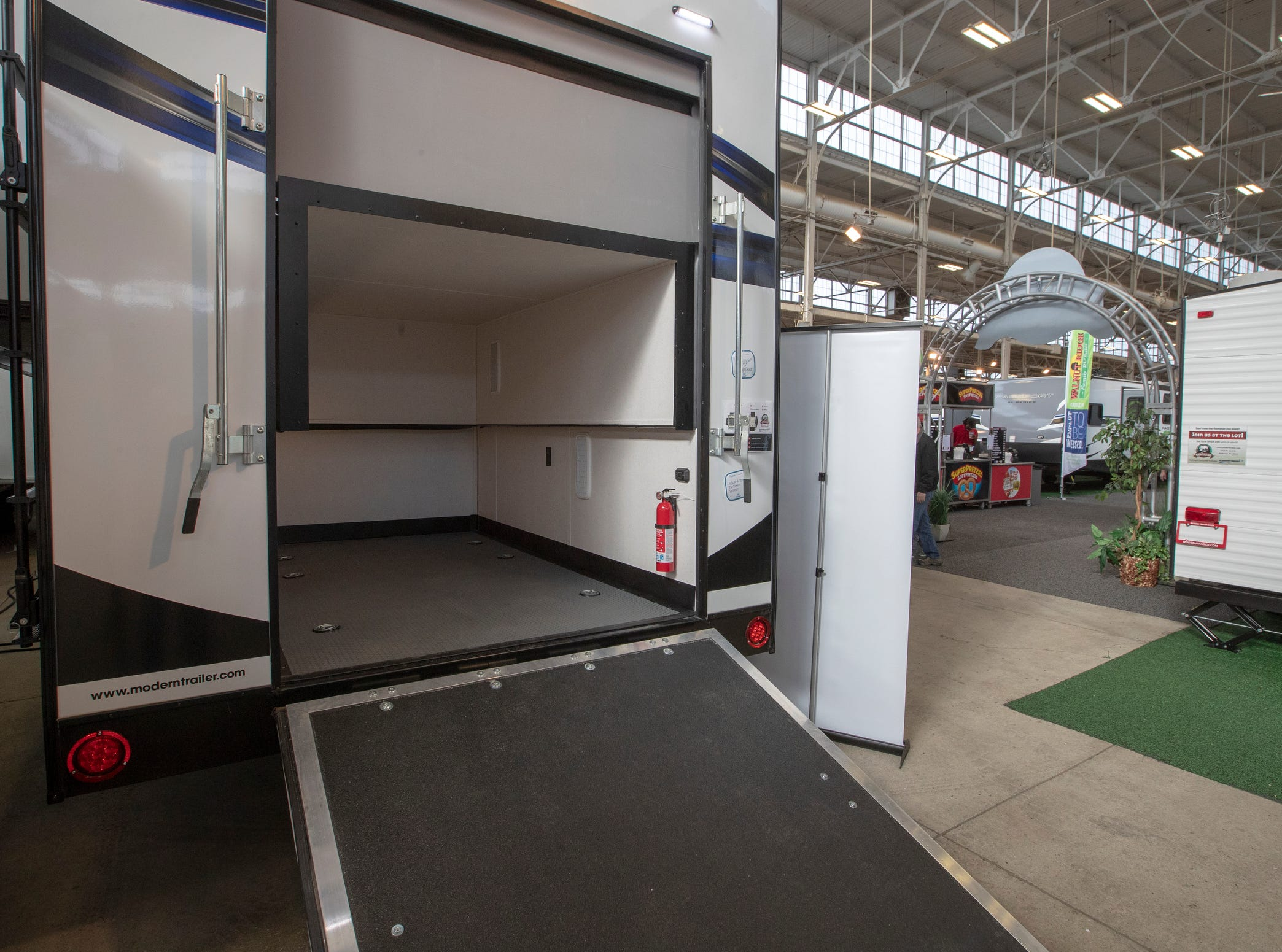 A Fuzion toy hauler, able to carry things like motorcycles while having lots of livable space, at the Indy RV Expo, Indiana State Fairgrounds, Indianapolis, Sunday, January 6, 2019. The show runs through the 13th.