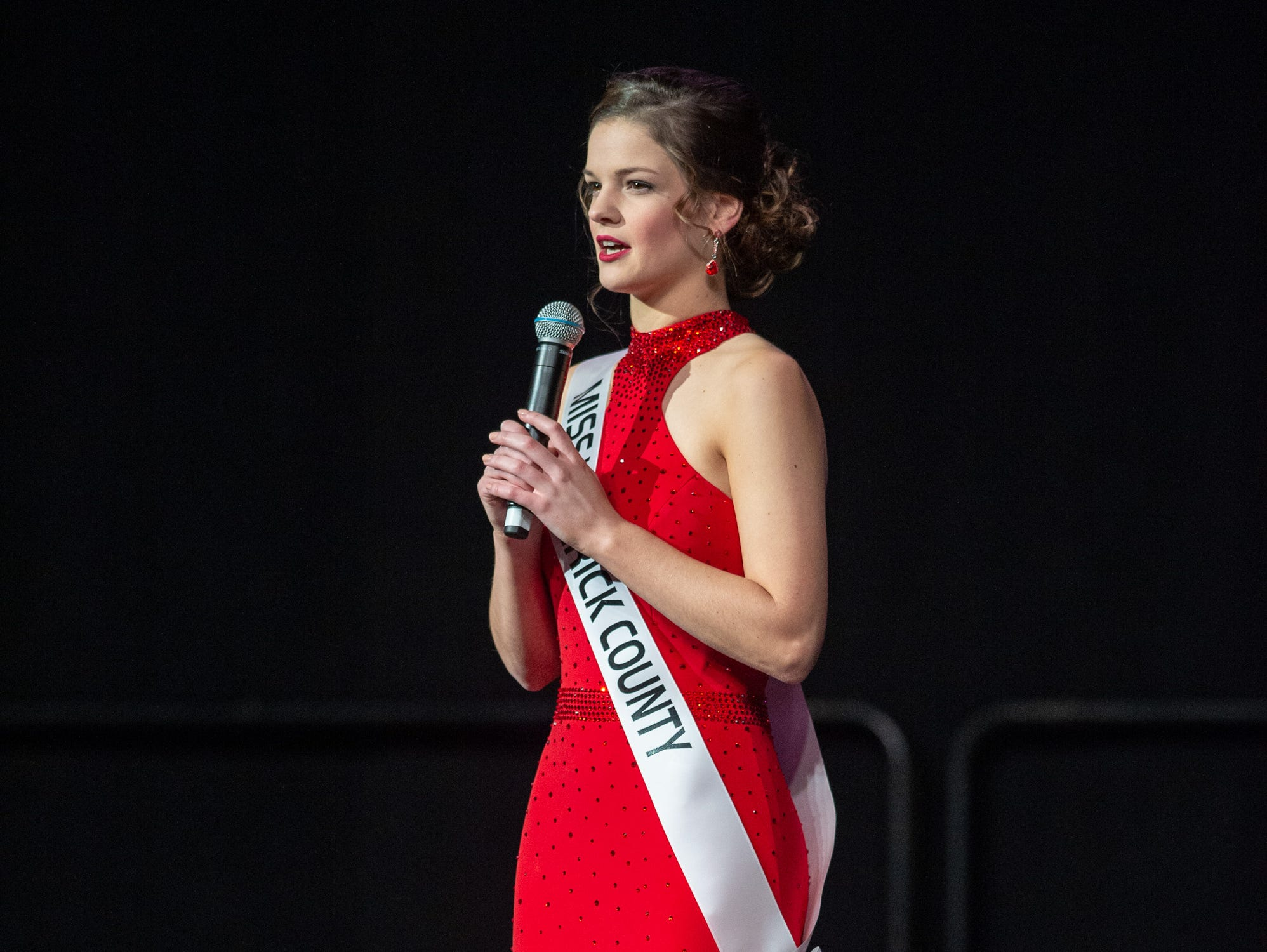 """Miss Warrick County, Adrienne Rudolph, was given the word """"grace"""" to use in a spontaneous response during the 61st Indiana State Fair Queen Pageant at the Indiana State Fairgrounds in Indianapolis on Sunday, Jan. 6, 2019."""