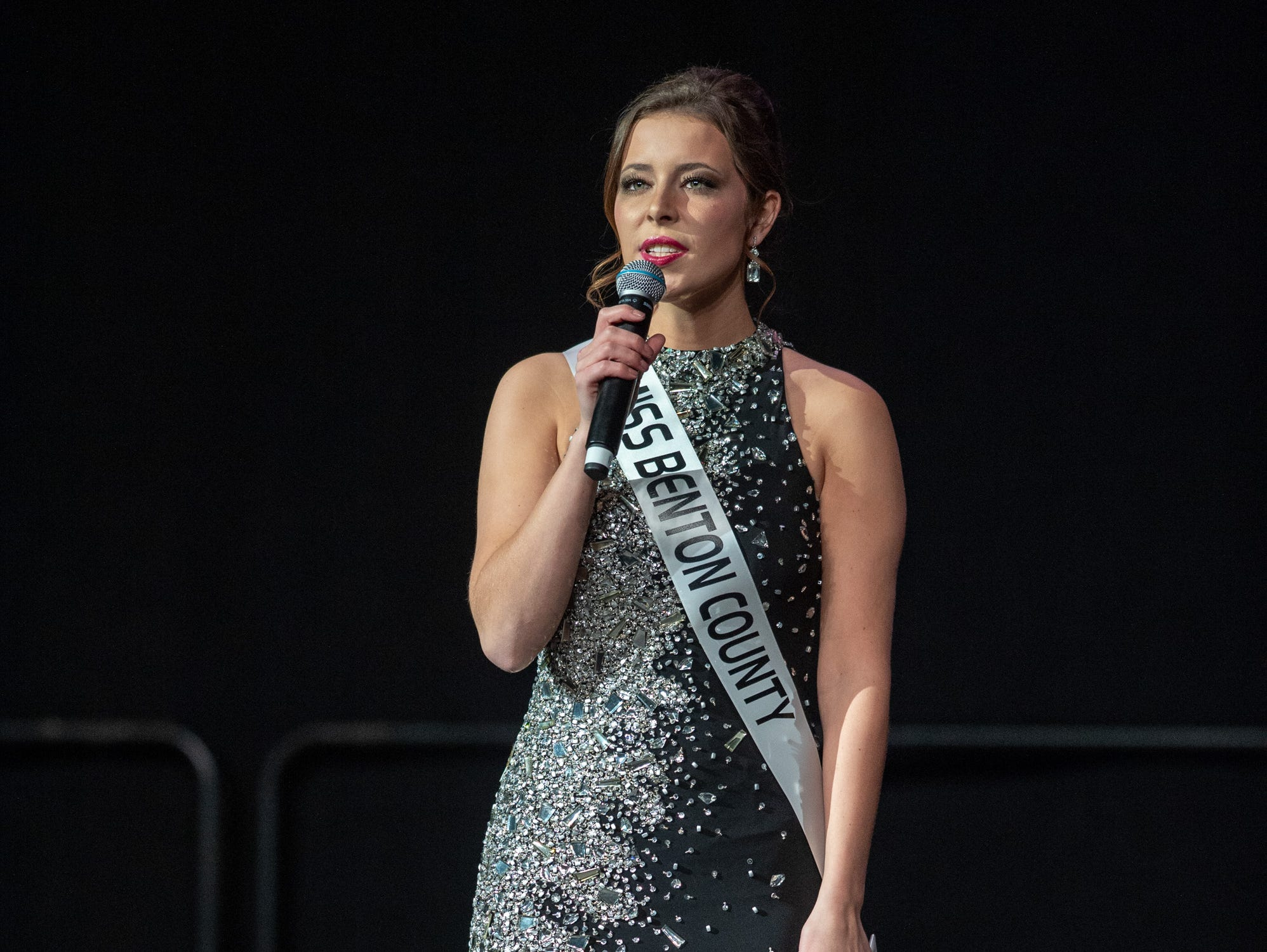 """Miss Benton County, Halle Shoults, was given the word """"hero"""" to use in a spontaneous response during the 61st Indiana State Fair Queen Pageant at the Indiana State Fairgrounds in Indianapolis on Sunday, Jan. 6, 2019."""