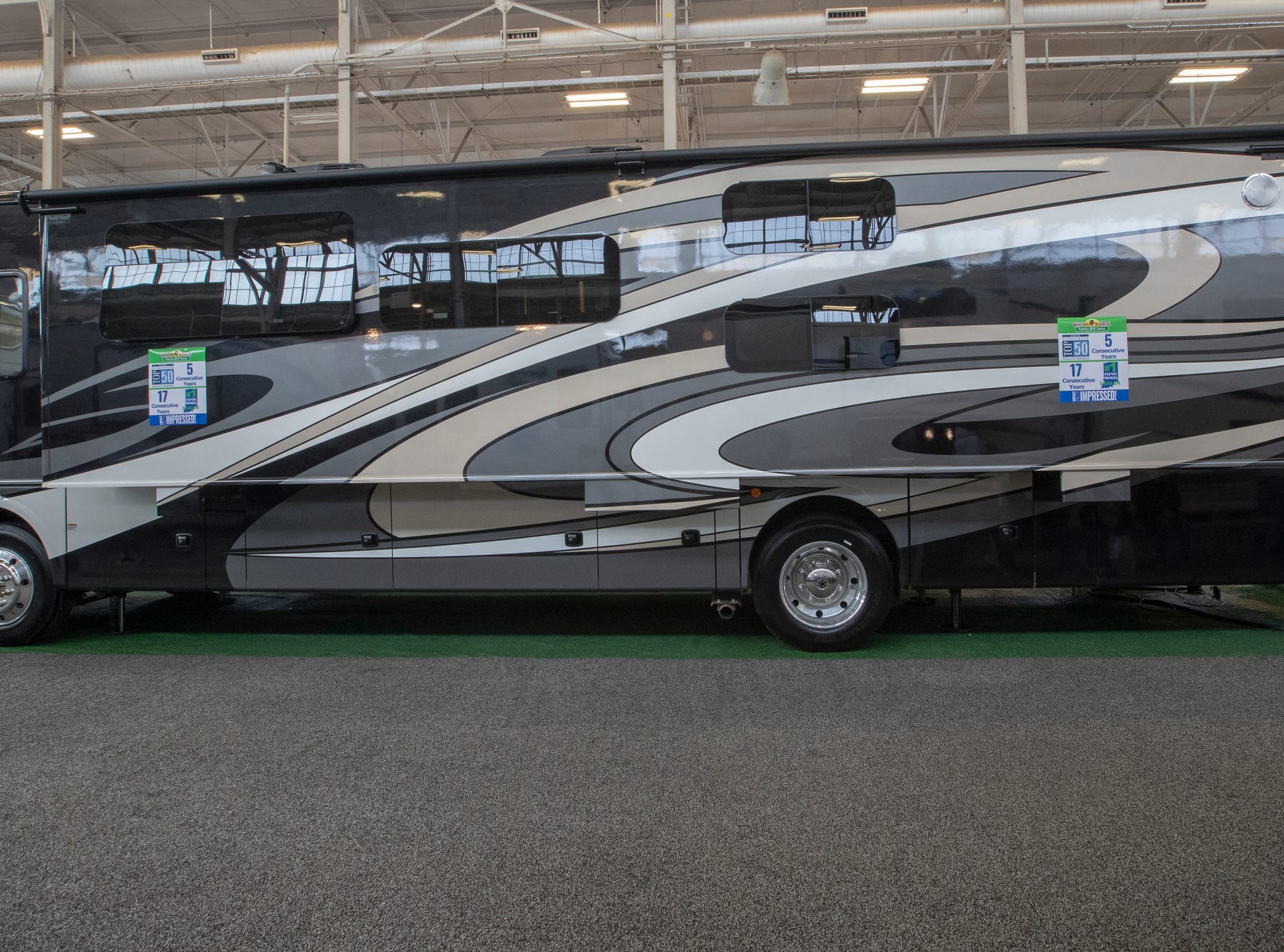 A 2019 Bounder 36F, one of the more expensive units at the Indy RV Expo, Indiana State Fairgrounds, Indianapolis, Sunday, January 6, 2019. The show runs through the 13th.