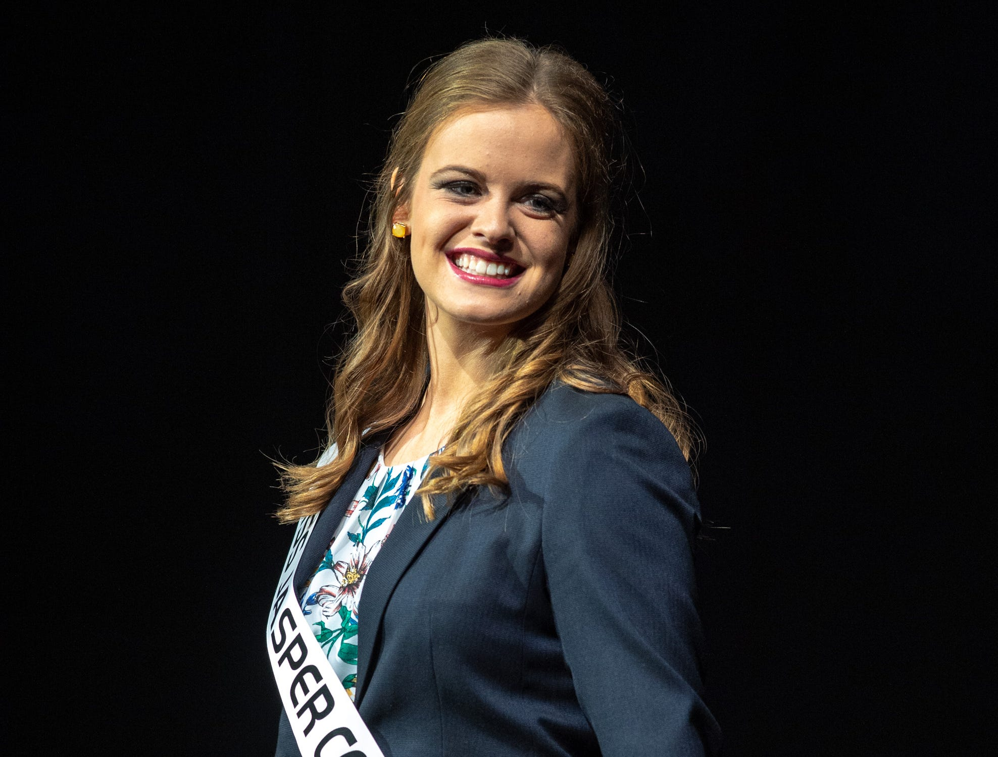 Miss Jasper County, Emily Kilmer, during the 61st Indiana State Fair Queen Pageant at the Indiana State Fairgrounds in Indianapolis on Sunday, Jan. 6, 2019.