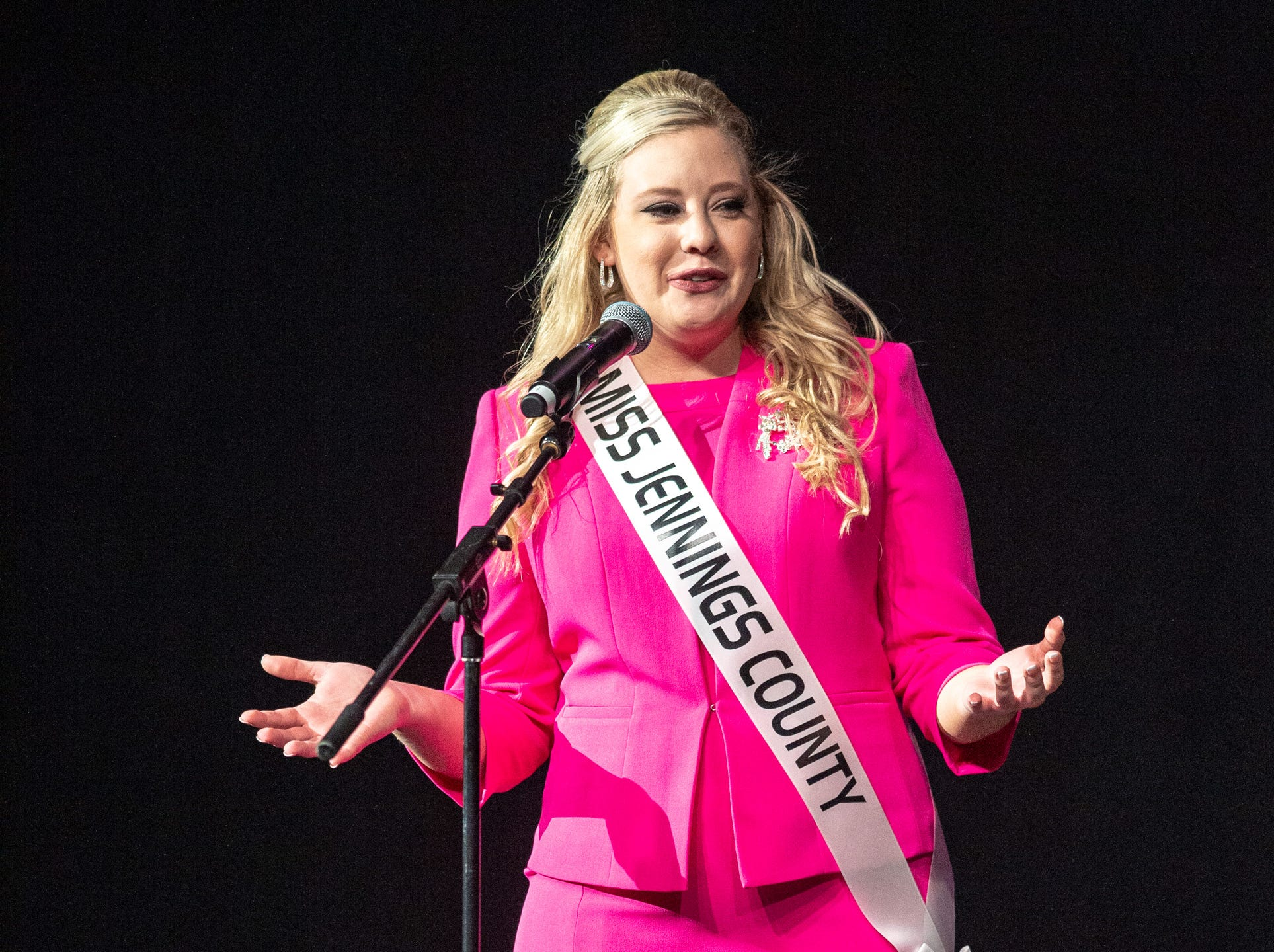 Miss Jennings County, Adrianna Gasper, during the 61st Indiana State Fair Queen Pageant at the Indiana State Fairgrounds in Indianapolis on Sunday, Jan. 6, 2019.