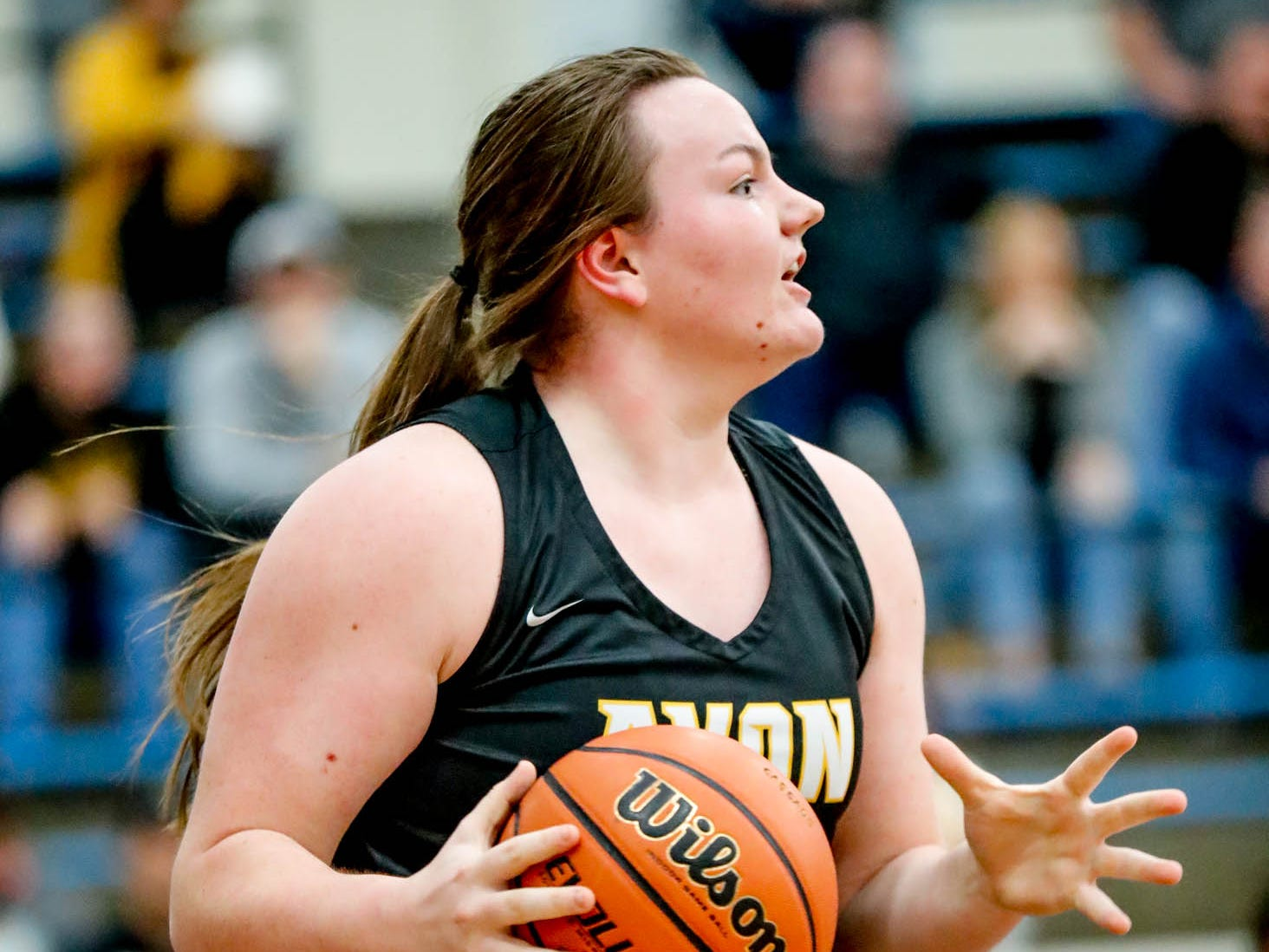 Avon High School's Haley Nichols (44), runs a play during a 2019 Hendricks County Basketball Tournament game between the Avon High School girls varsity basketball team and Brownsburg High School, held at Cascade High School on Saturday, Jan. 5, 2019.
