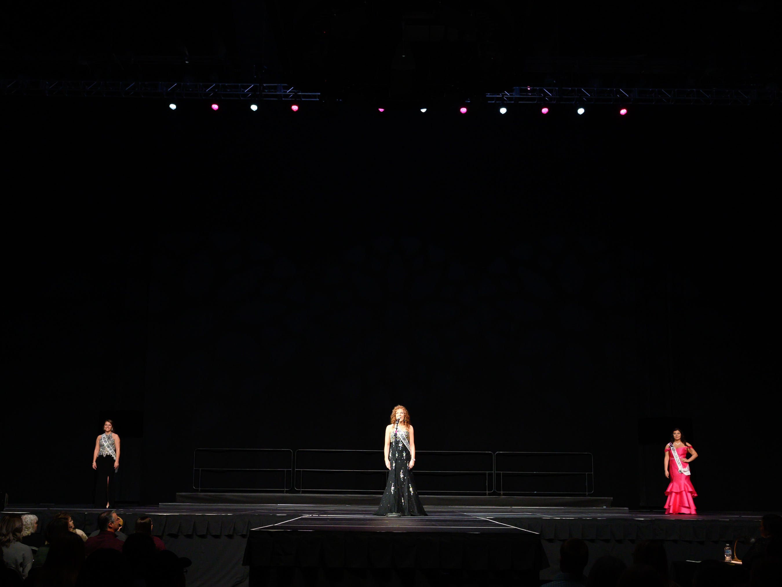 Contestants introduce themselves on stage during the 61st Indiana State Fair Queen Pageant at the Indiana State Fairgrounds in Indianapolis on Sunday, Jan. 6, 2019.