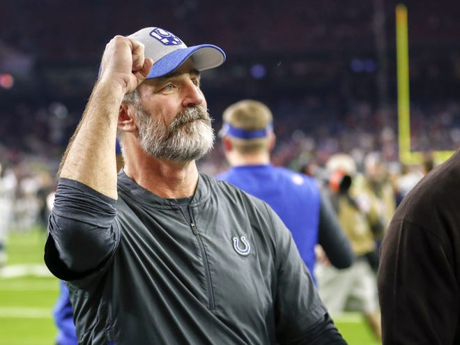 Indianapolis Colts head coach Frank Reich reacts to the team's win over the Houston Texans in an NFL Wild Card Round playoff game, Saturday, Jan. 5, 2019 at NRG Stadium in Houston, Texas.
