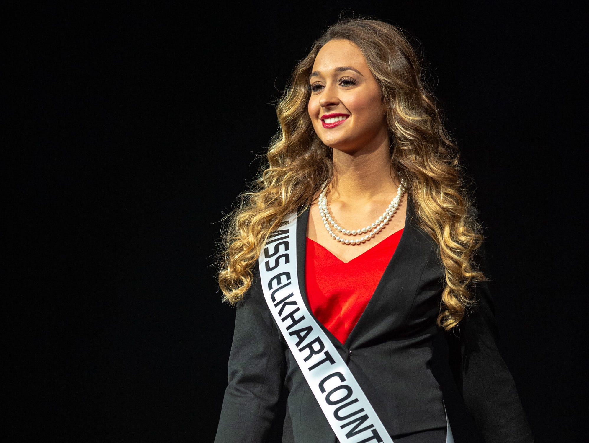 Miss Elkhart County, Emily Yoder, during the 61st Indiana State Fair Queen Pageant at the Indiana State Fairgrounds in Indianapolis on Sunday, Jan. 6, 2019.