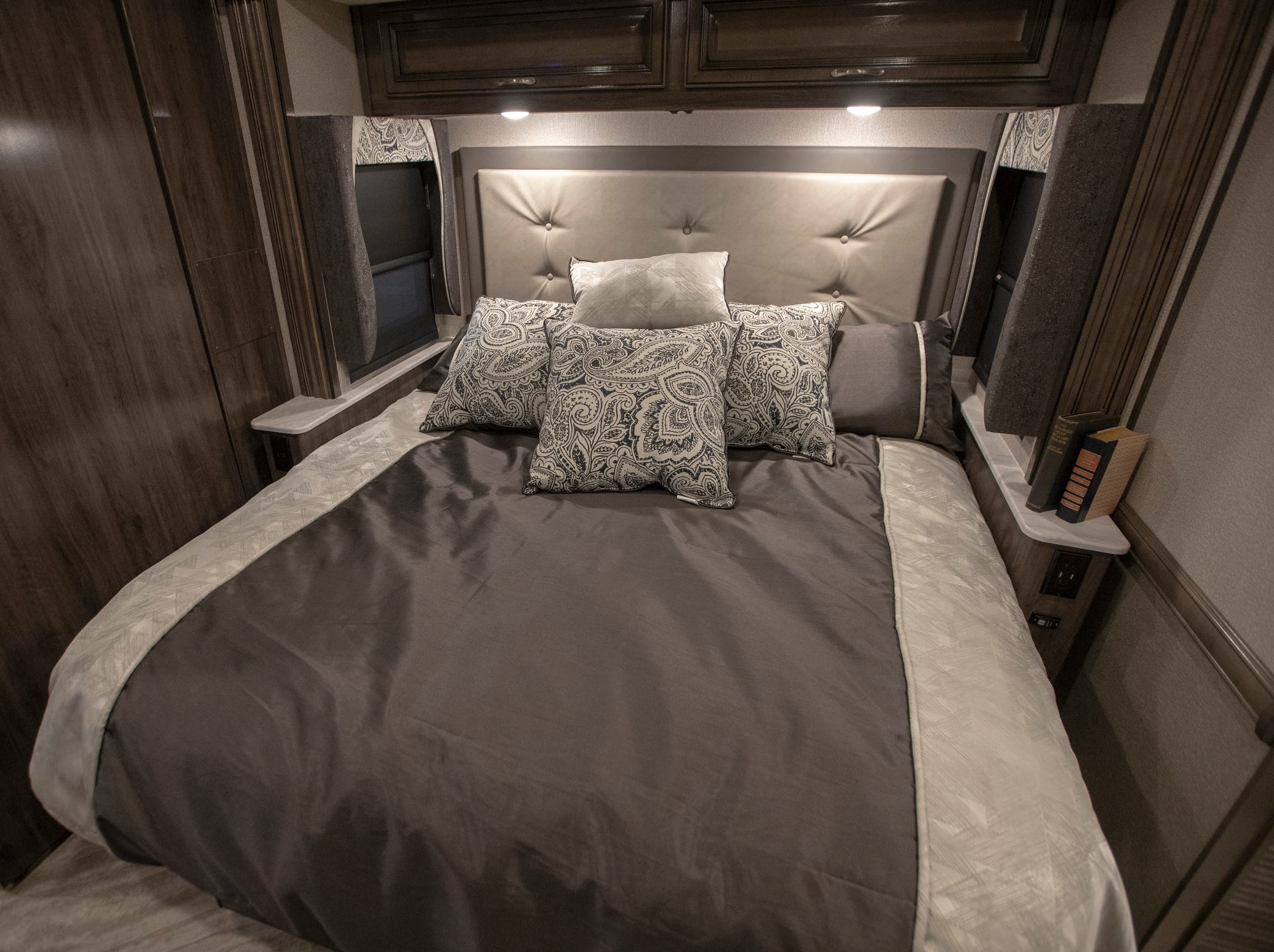 A short king bed inside the 2019 Bounder 36F, one of the more expensive units at the Indy RV Expo, Indiana State Fairgrounds, Indianapolis, Sunday, January 6, 2019. The show runs through the 13th.