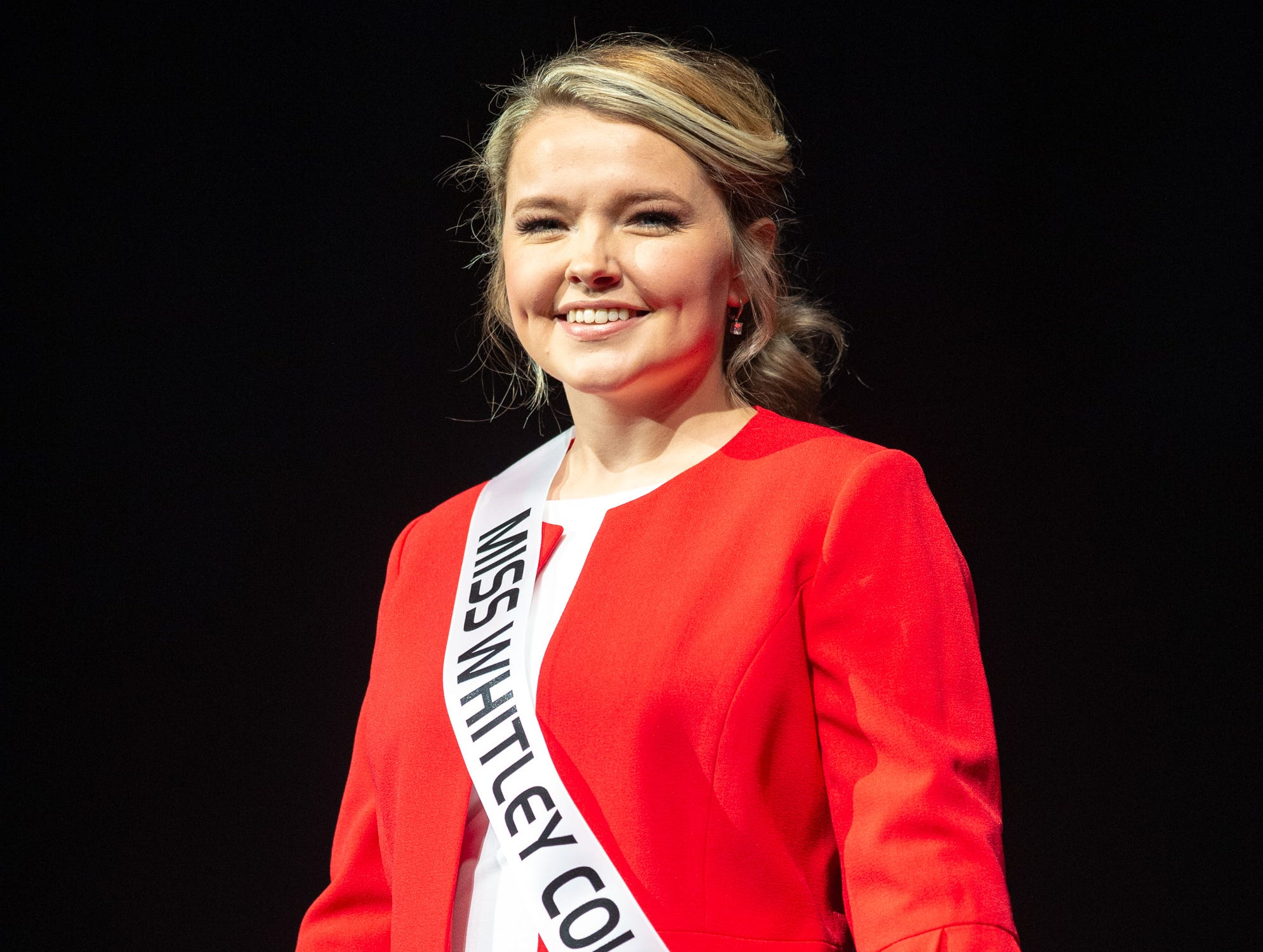 Miss Whitley County, Mackenzie Sheets, during the 61st Indiana State Fair Queen Pageant at the Indiana State Fairgrounds in Indianapolis on Sunday, Jan. 6, 2019. Miss Benton County, Halle Shoults, was crowned the 2019 Indiana State Fair Queen.
