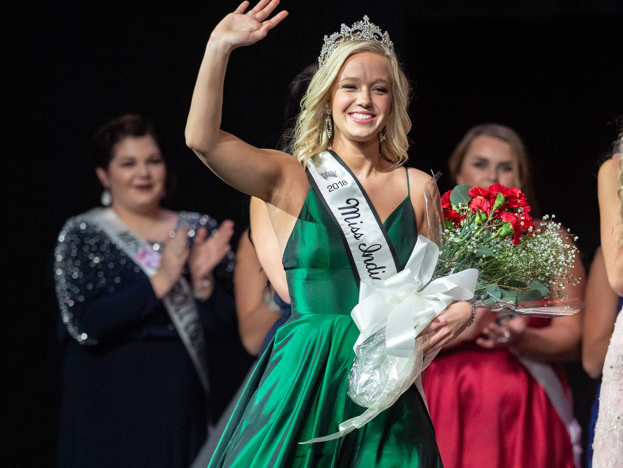 Miss Indiana State Fait 2018, Audrey Campbell, makes an appearance on stage during the 61st Indiana State Fair Queen Pageant at the Indiana State Fairgrounds in Indianapolis on Sunday, Jan. 6, 2019.