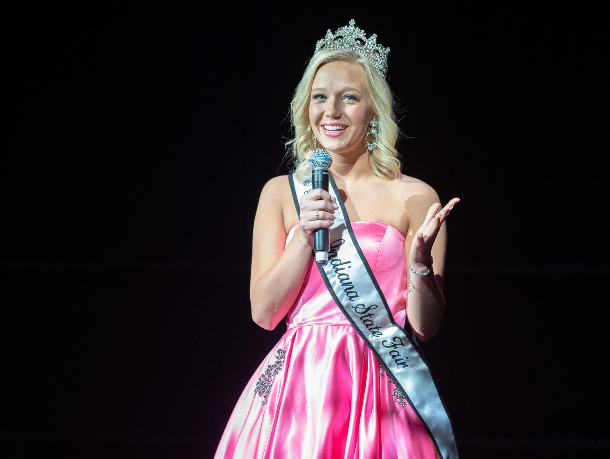 Miss Indiana State Fair 2018, Audrey Campbell, makes an appearance on stage during the 61st Indiana State Fair Queen Pageant at the Indiana State Fairgrounds in Indianapolis on Sunday, Jan. 6, 2019.