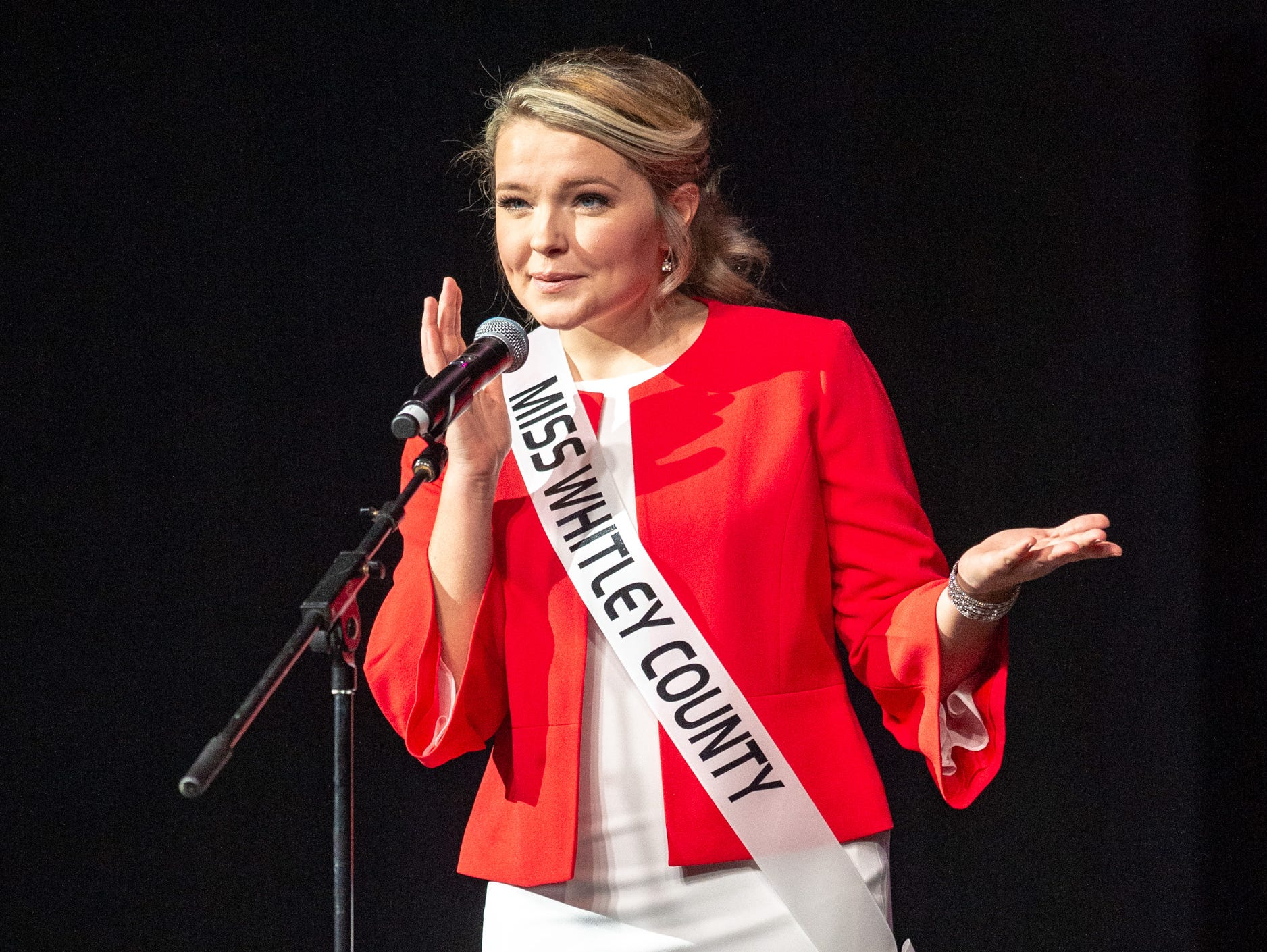 Miss Whitley County, Mackenzie Sheets, during the 61st Indiana State Fair Queen Pageant at the Indiana State Fairgrounds in Indianapolis on Sunday, Jan. 6, 2019.