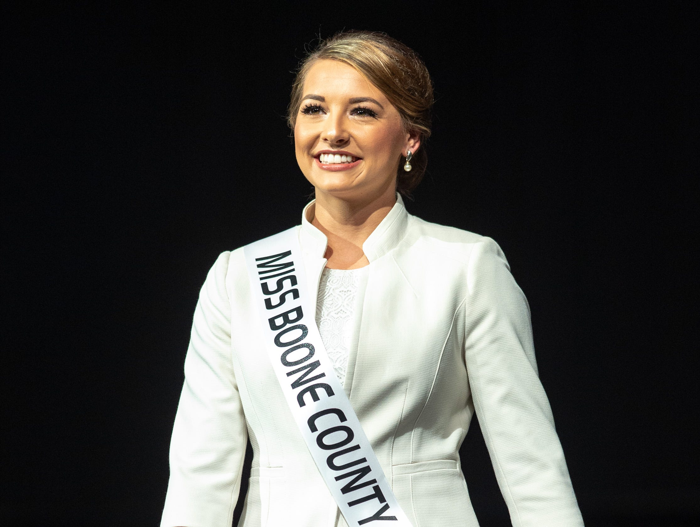 Miss Boone County, Maci French, during the 61st Indiana State Fair Queen Pageant at the Indiana State Fairgrounds in Indianapolis on Sunday, Jan. 6, 2019.
