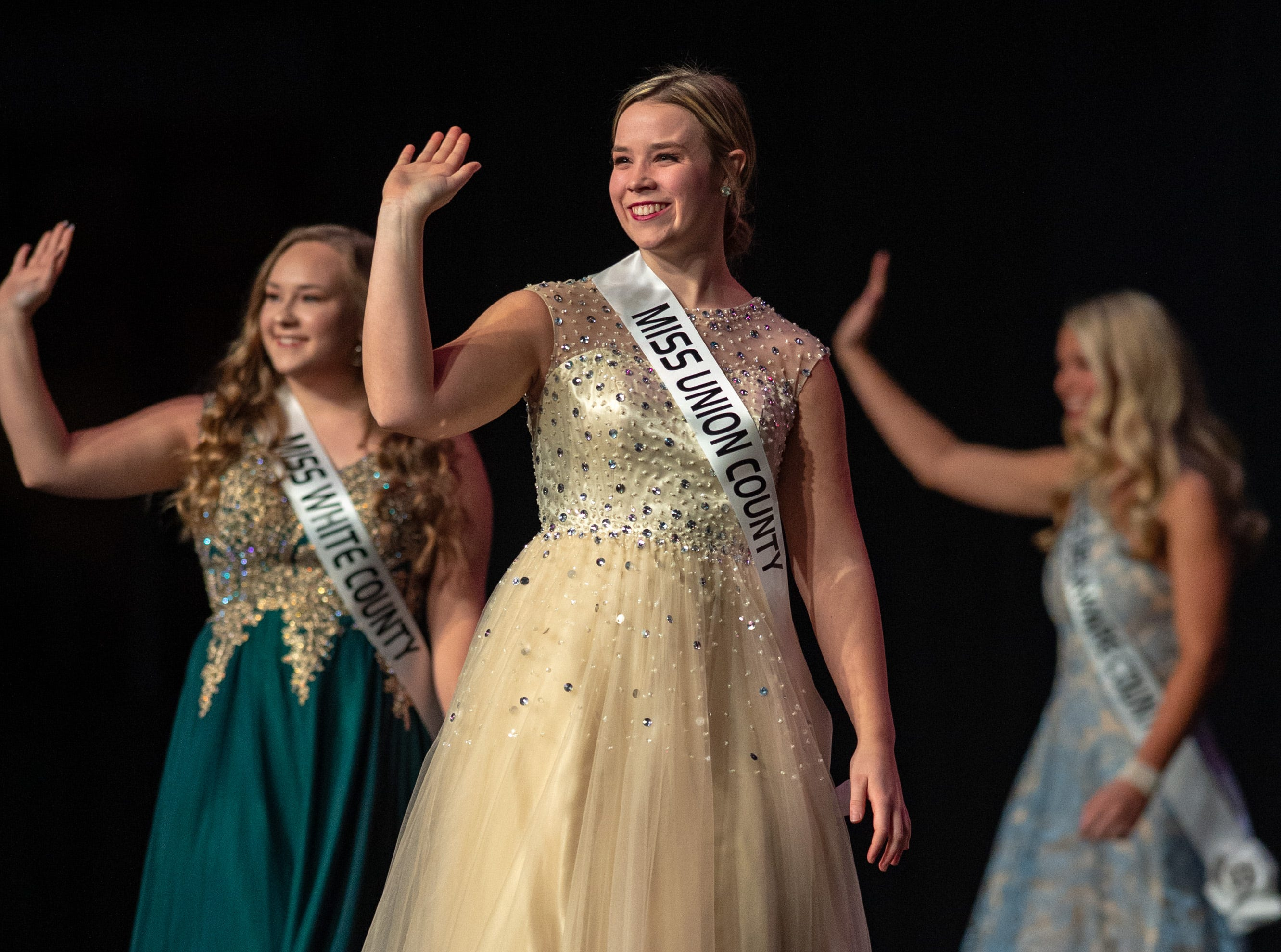 Miss Union County, Emily Myers, takes the stage with other contestantsduring the 61st Indiana State Fair Queen Pageant at the Indiana State Fairgrounds in Indianapolis on Sunday, Jan. 6, 2019.