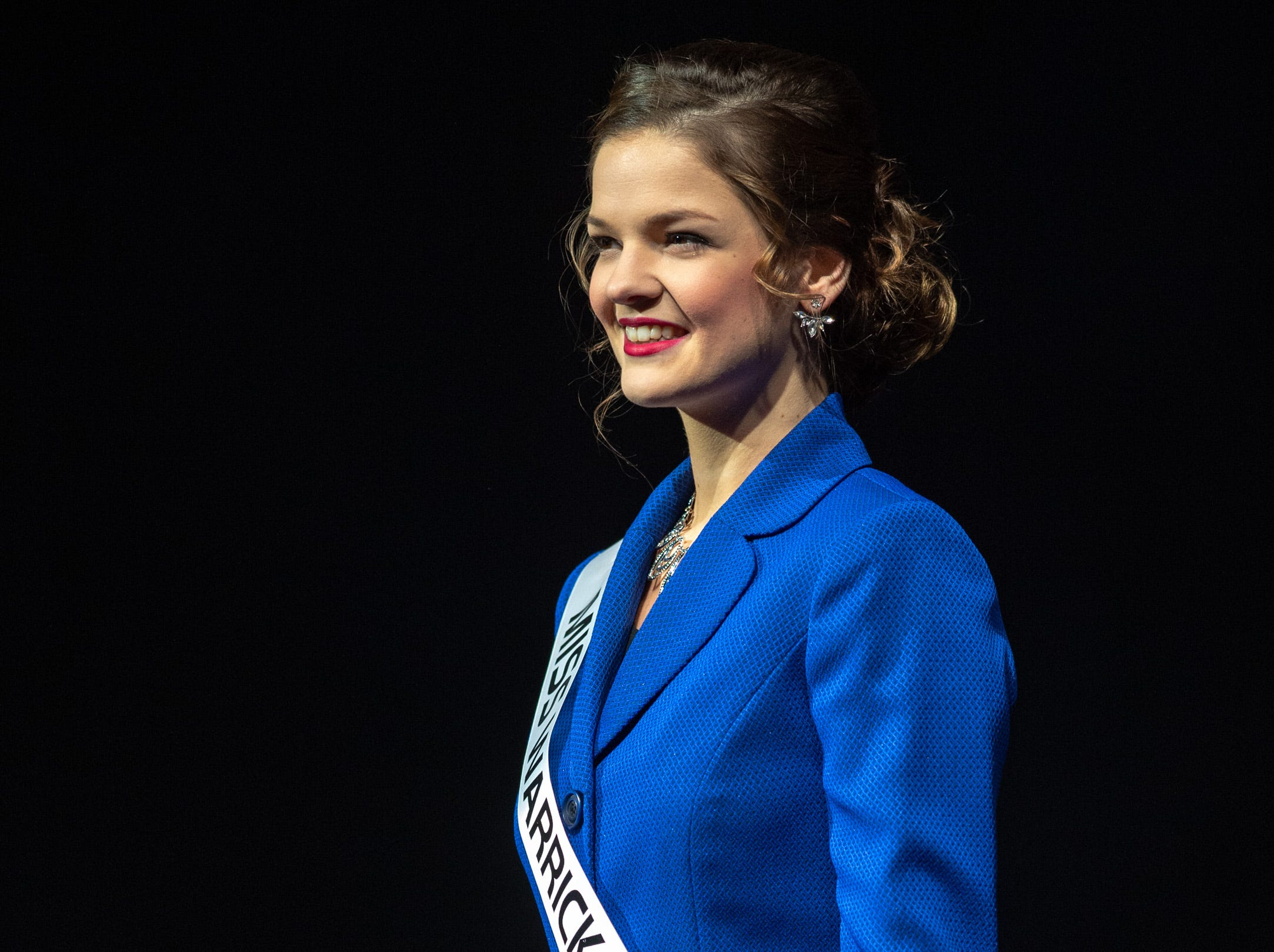 Miss Warrick County, Adrienne Rudolph, during the 61st Indiana State Fair Queen Pageant at the Indiana State Fairgrounds in Indianapolis on Sunday, Jan. 6, 2019.