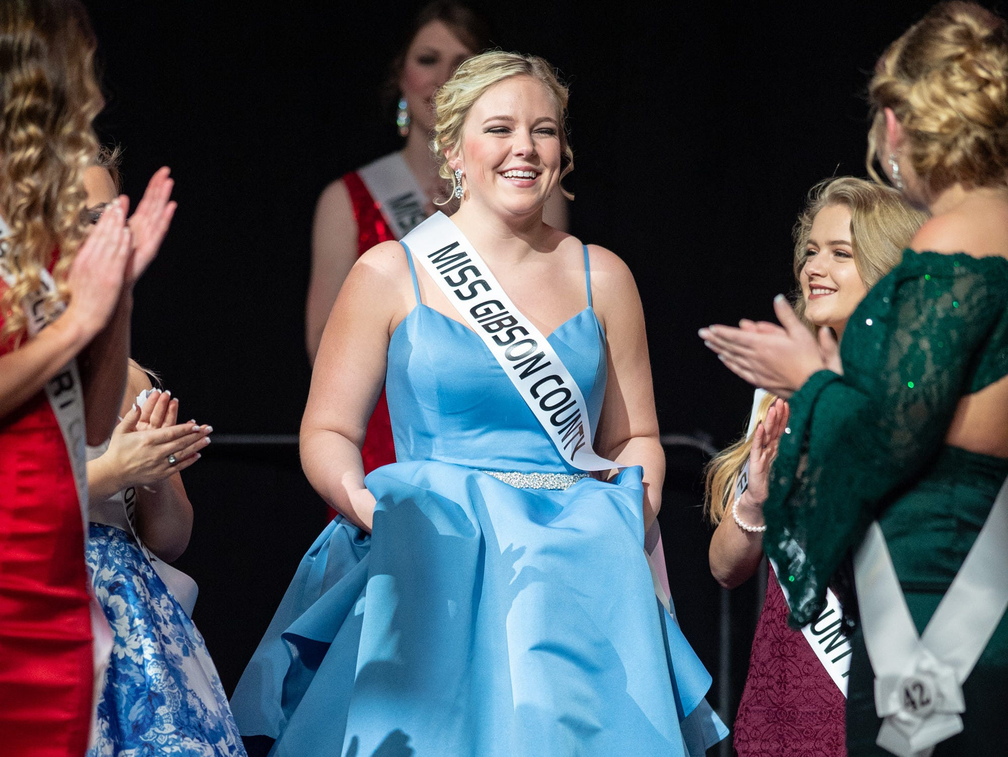 Miss Gibson County, Emily Scott, was named Miss Congeniality during the 61st Indiana State Fair Queen Pageant at the Indiana State Fairgrounds in Indianapolis on Sunday, Jan. 6, 2019.