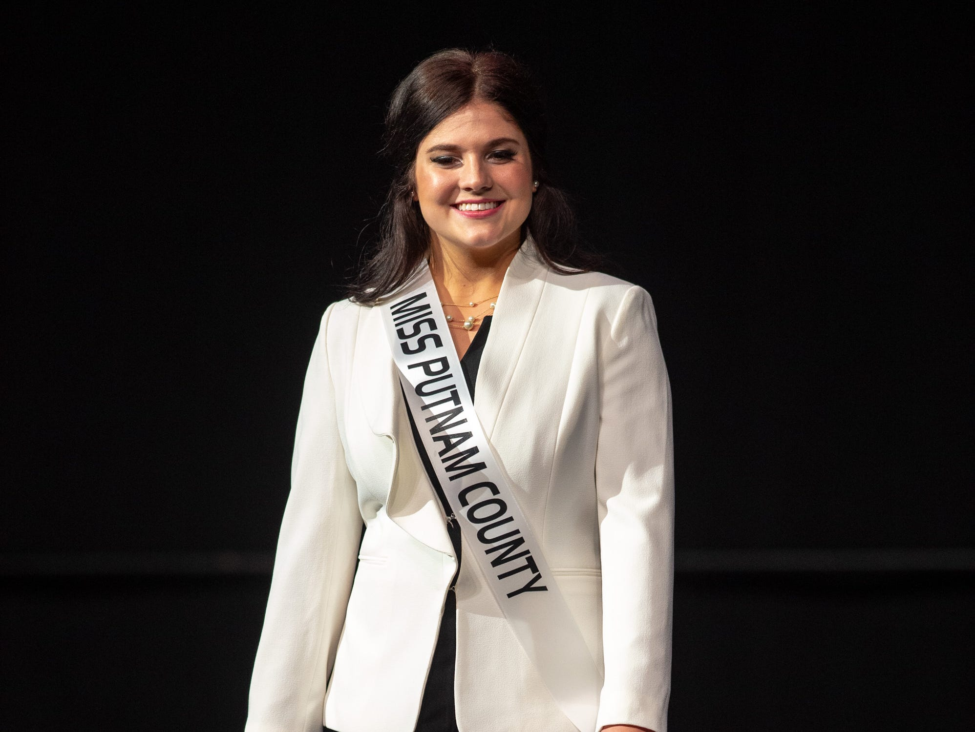 Miss Putnam County, Raegan Bowling, during the 61st Indiana State Fair Queen Pageant at the Indiana State Fairgrounds in Indianapolis, Sunday, Jan. 6, 2019. Miss Benton County, Halle Shoults, was crowned the 2019 Indiana State Fair Queen.