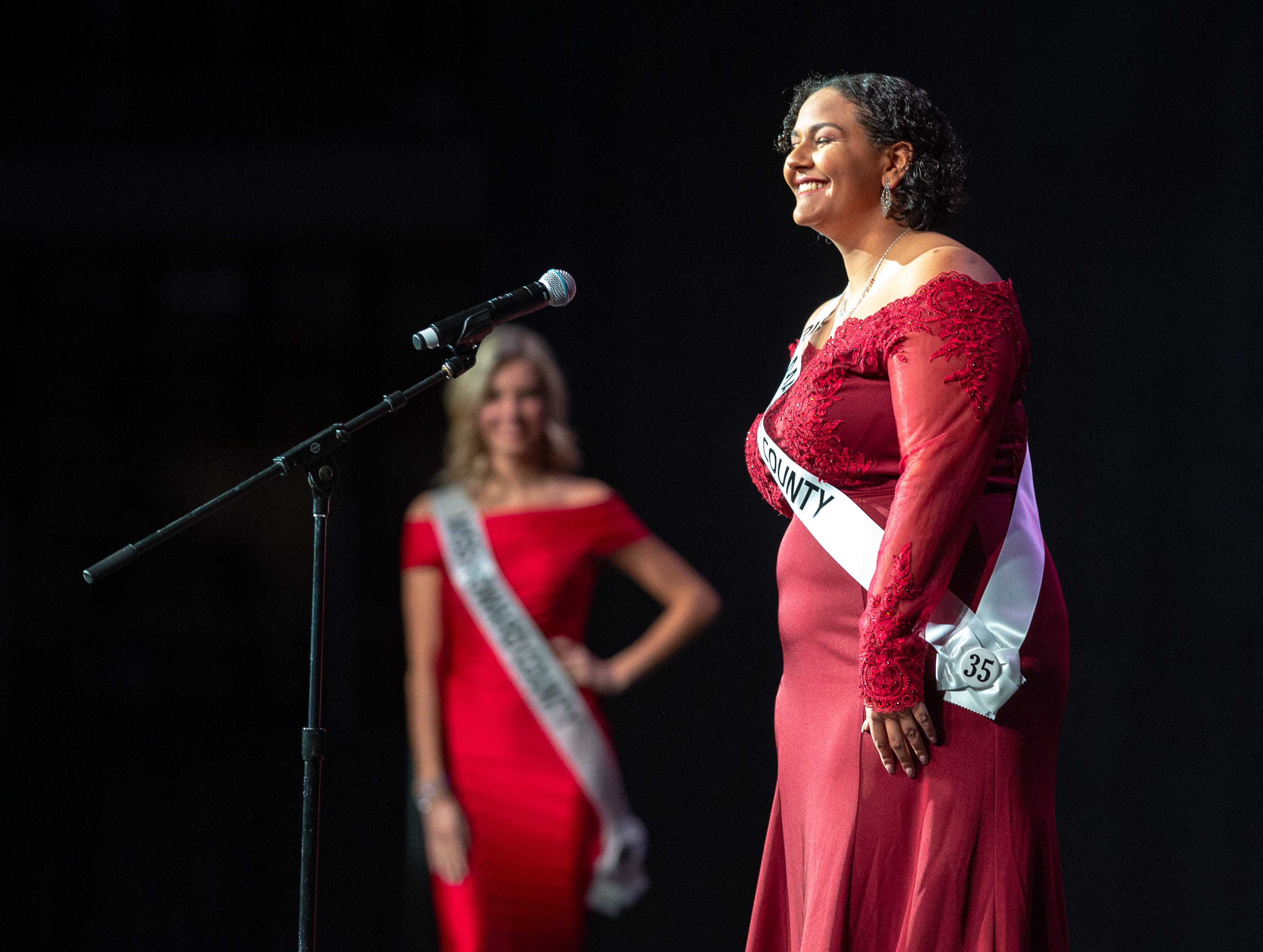 Miss Marion County, Desiree Cowling, introduces herself on stage during the 61st Indiana State Fair Queen Pageant at the Indiana State Fairgrounds in Indianapolis on Sunday, Jan. 6, 2019.