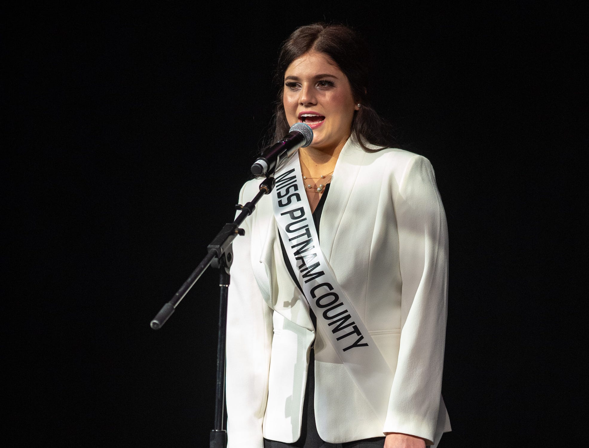 Miss Putnam County, Raegan Bowling, during the 61st Indiana State Fair Queen Pageant at the Indiana State Fairgrounds in Indianapolis on Sunday, Jan. 6, 2019.