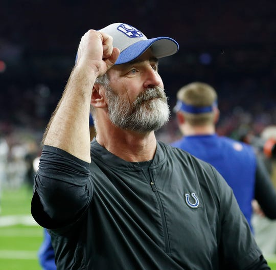 Indianapolis Colts head coach Frank Reich following their AFC Wild Card playoff game at NRG Stadium in Houston, TX., on Saturday, Jan. 5, 2019.