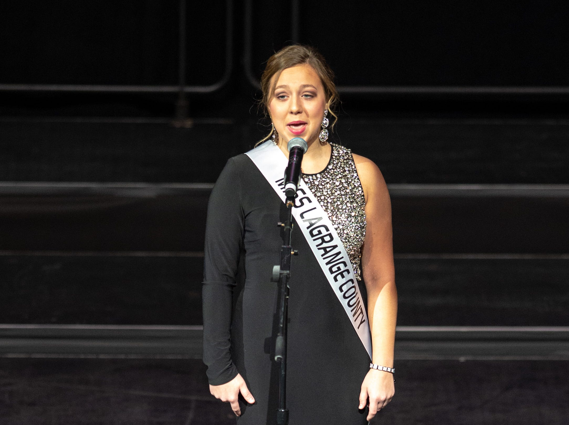 Miss LaGrange County, Sydney Rathburn, introduces herself during the 61st Indiana State Fair Queen Pageant at the Indiana State Fairgrounds in Indianapolis on Sunday, Jan. 6, 2019.
