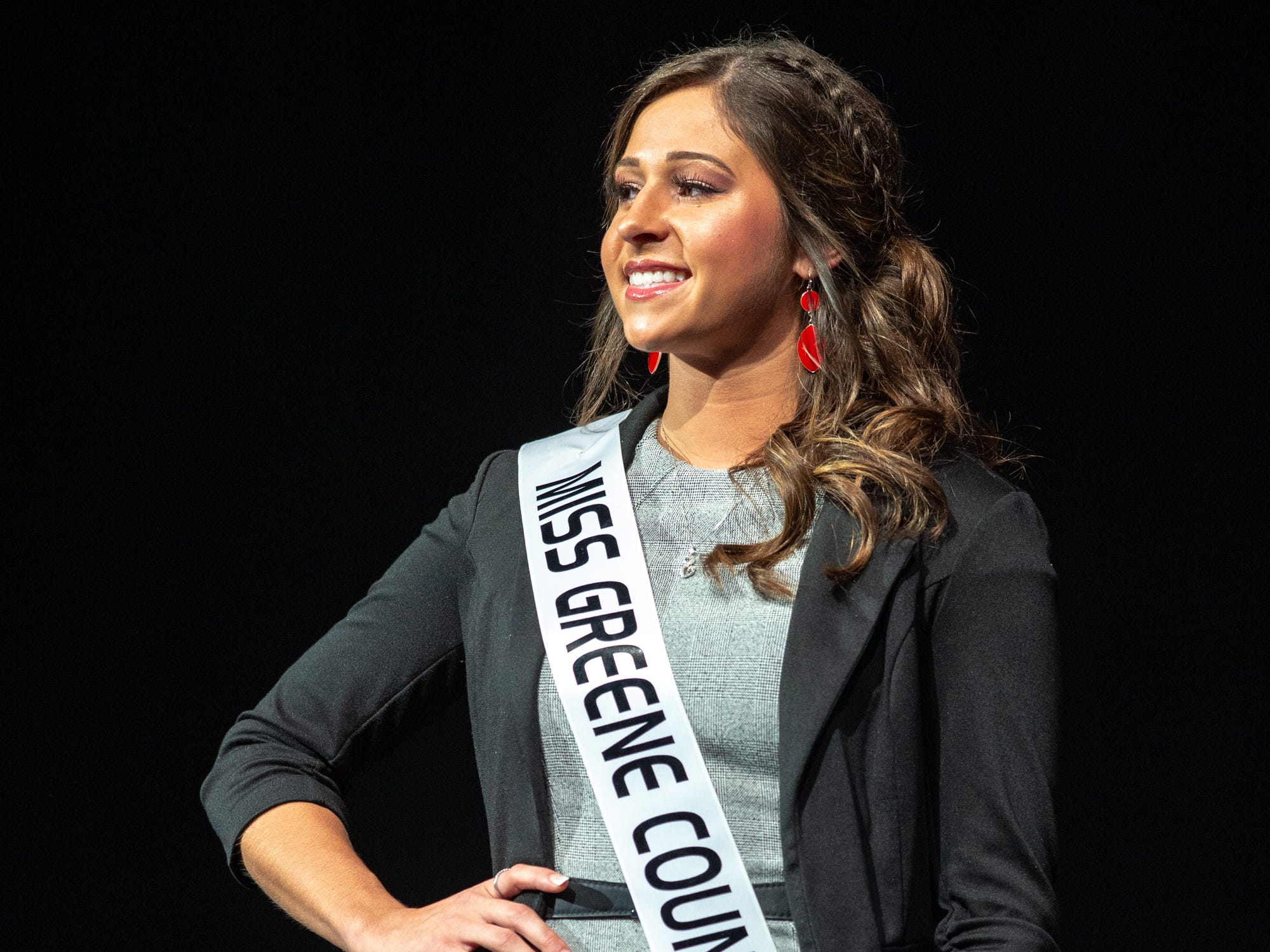 Miss Greene County, Skylar Tucker, during the 61st Indiana State Fair Queen Pageant at the Indiana State Fairgrounds in Indianapolis, Sunday, Jan. 6, 2019. Miss Benton County, Halle Shoults, was crowned the 2019 Indiana State Fair Queen.
