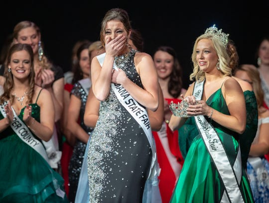 Miss Benton County, Halle Shoults, reacts before being crowned the 2019 Indiana State Fair Queen on Sunday, Jan. 6, 2019.