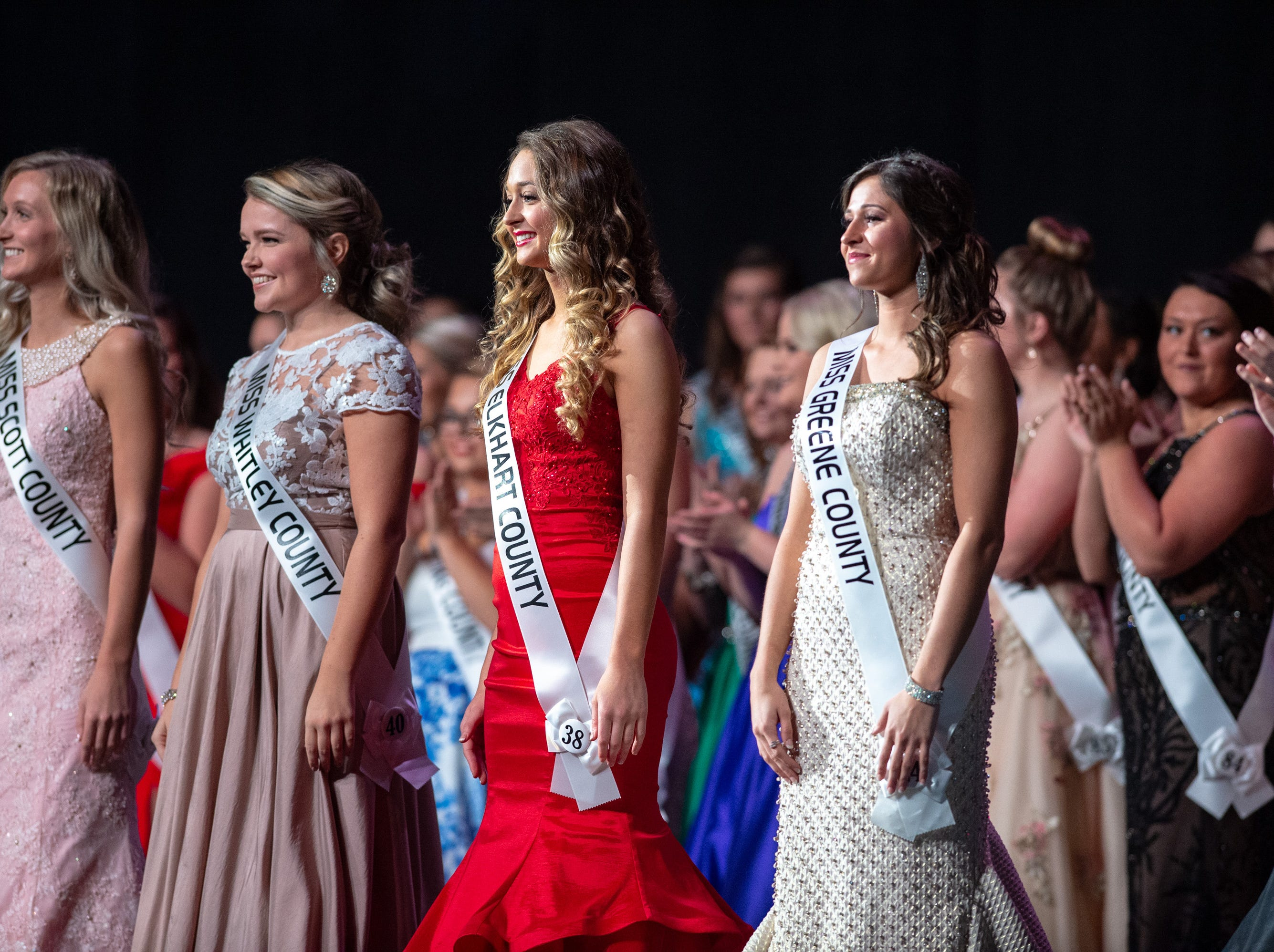 Semifinal contestants on stage during the 61st Indiana State Fair Queen Pageant at the Indiana State Fairgrounds in Indianapolis on Sunday, Jan. 6, 2019.