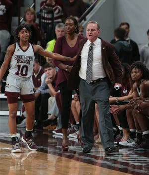 Mississippi State's Vic Schaefer reacts after a he was called for a technical foul. Mississippi State and Kentucky played in an SEC women's basketball game on Sunday, January 6, 2019. Photo by Keith Warren