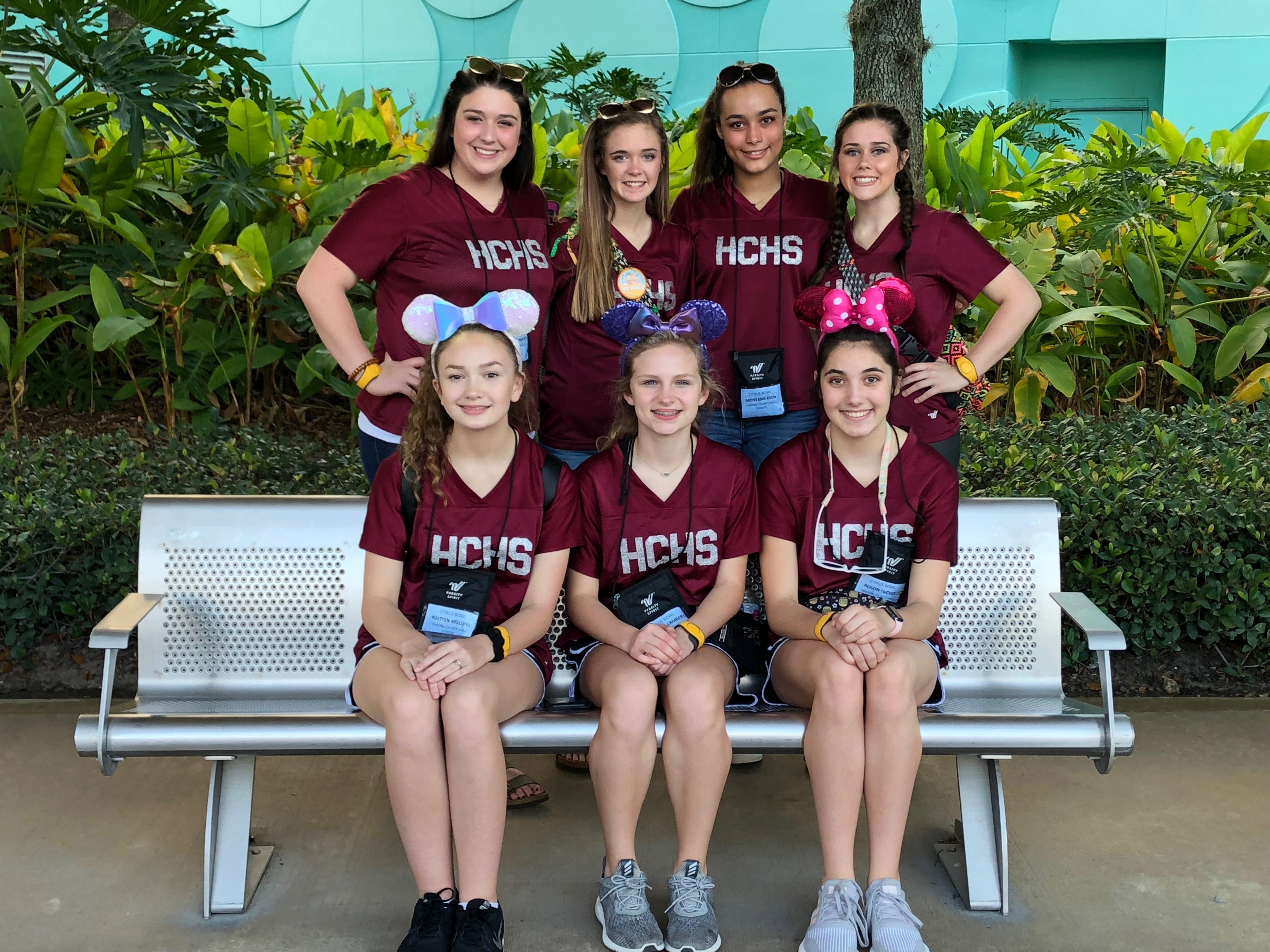 While in Florida for the Citrus Bowl pre-game show, the Hardin Co. cheer squad  were able to visit the Walt Disney World parks. At Animal Kindgom, pictured on the back row from left to right are Hannah Bromley, Meagan Screws, Montana Keen and Kimberlin Stanfill with Kaitlyn Mullins, Meredith Lambert and Allison Tucker sitting on the front row.