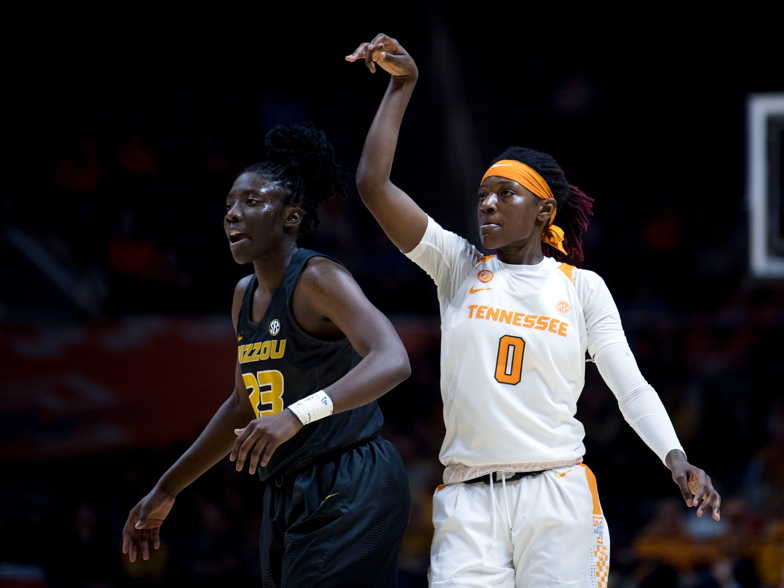 Tennessee's Rennia Davis (0) hits a 3-pointer over Missouri's Amber Smith (23) on Sunday, January 6, 2019.