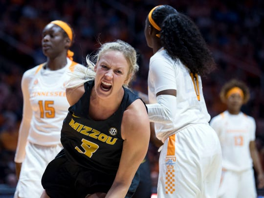 Missouri's Sophie Cunningham (3) yells out after drawing a foul against Tennessee on Sunday, January 6, 2019.
