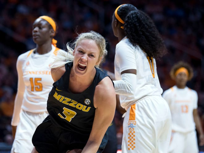 Missouri's Sophie Cunningham (3) yells out after drawing a foul against Tennessee on Sunday.