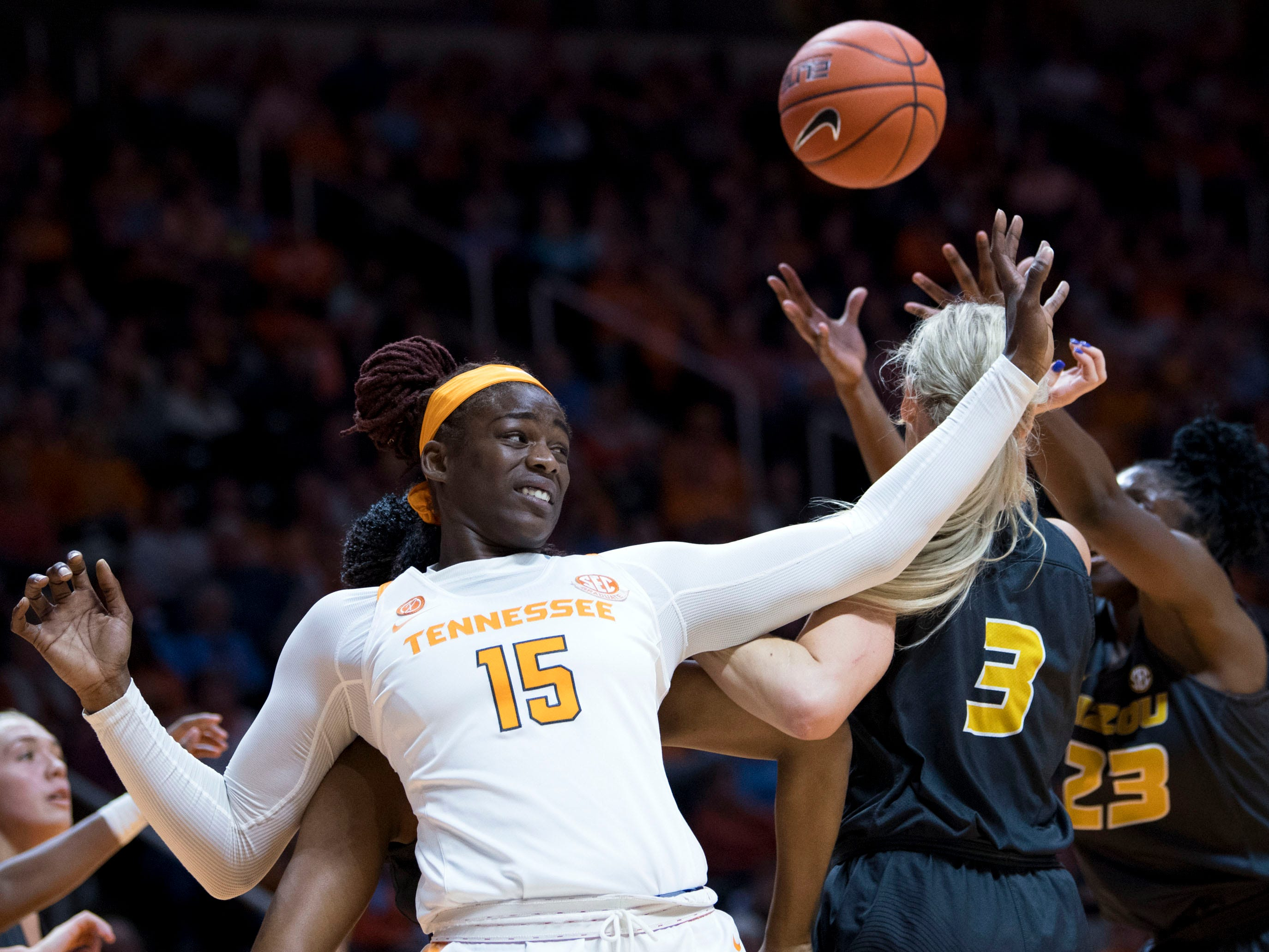 Tennessee's Cheridene Green (15) fights for a rebound against Missouri on Sunday, January 6, 2019.