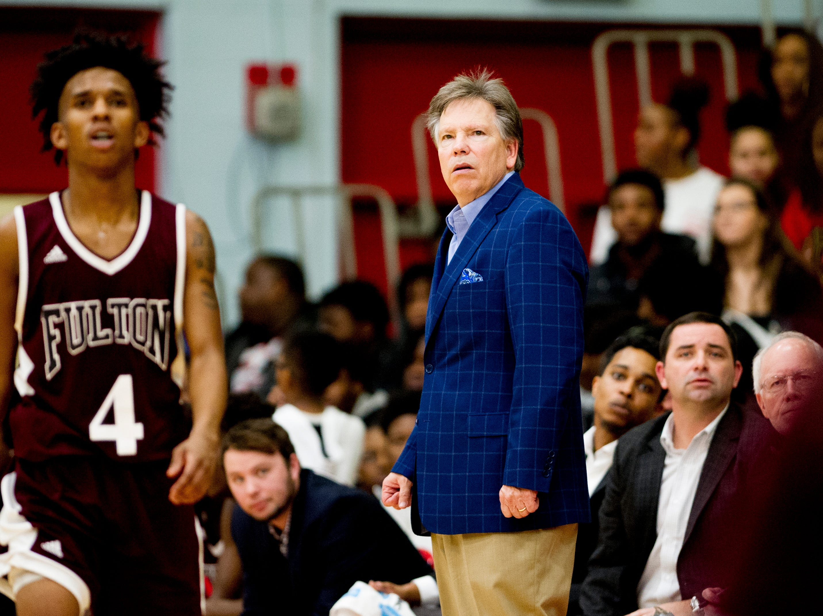 Fulton Boys Head Coach Jody Wright watches the game during a game between Austin-East and Fulton at Austin-East High School in Knoxville, Tennessee on Saturday, January 5, 2019.