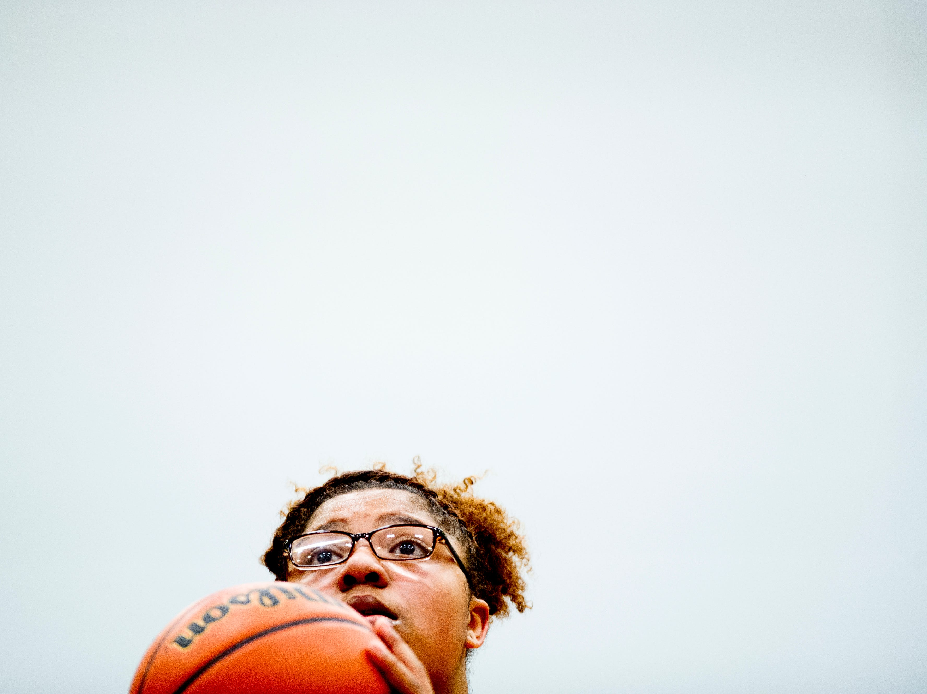Austin-East's AnDaja Ware (30) shoots a free throw during a game between Austin-East and Fulton at Austin-East High School in Knoxville, Tennessee on Saturday, January 5, 2019.