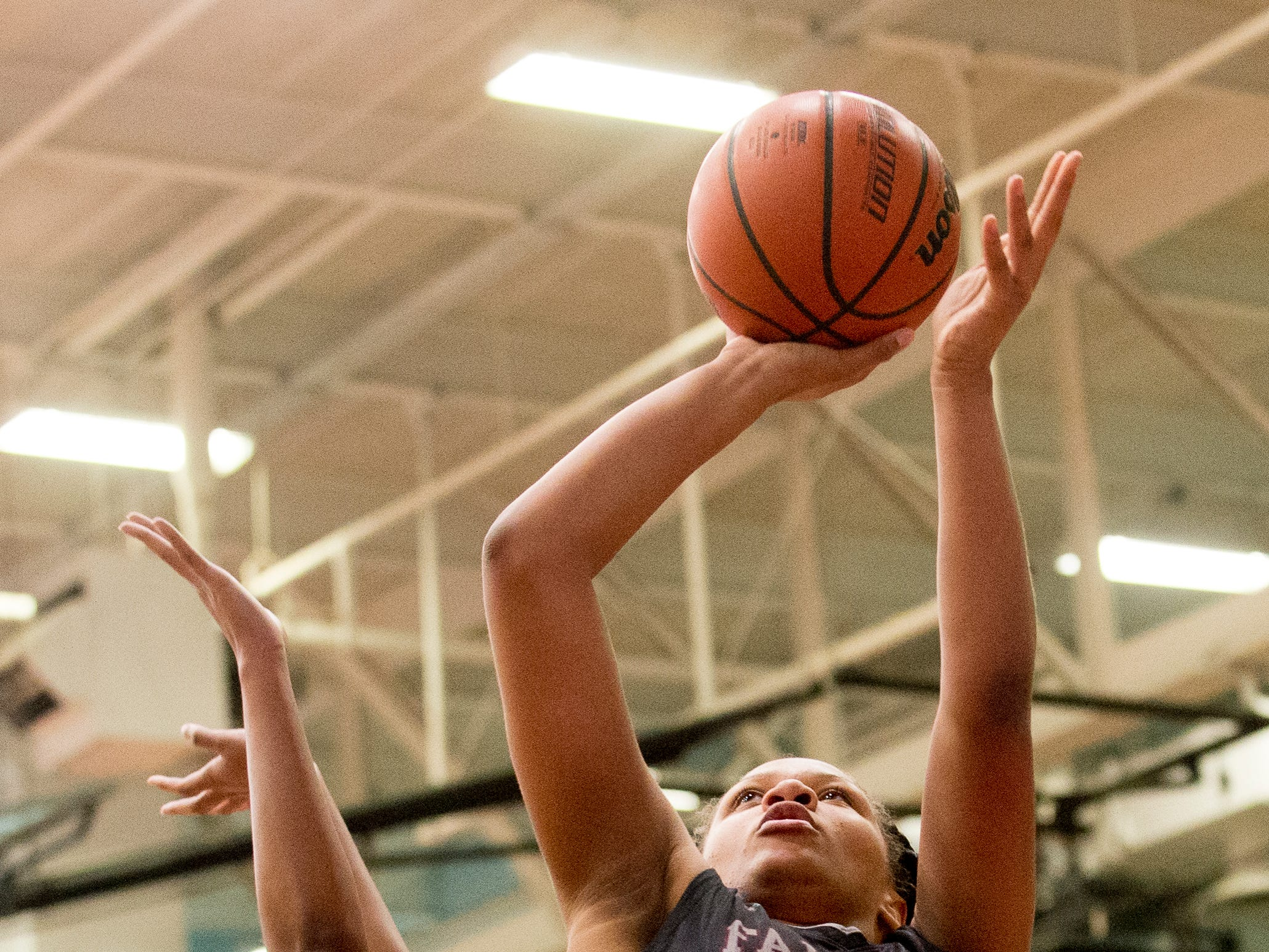 Fulton's Ranaishah Gates (32) shoots the ball during a game between Austin-East and Fulton at Austin-East High School in Knoxville, Tennessee on Saturday, January 5, 2019.
