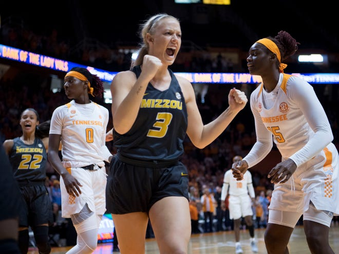 Missouri's Sophie Cunningham (3) celebrates after getting a turnover against Tennessee on Sunday, January 6, 2019.