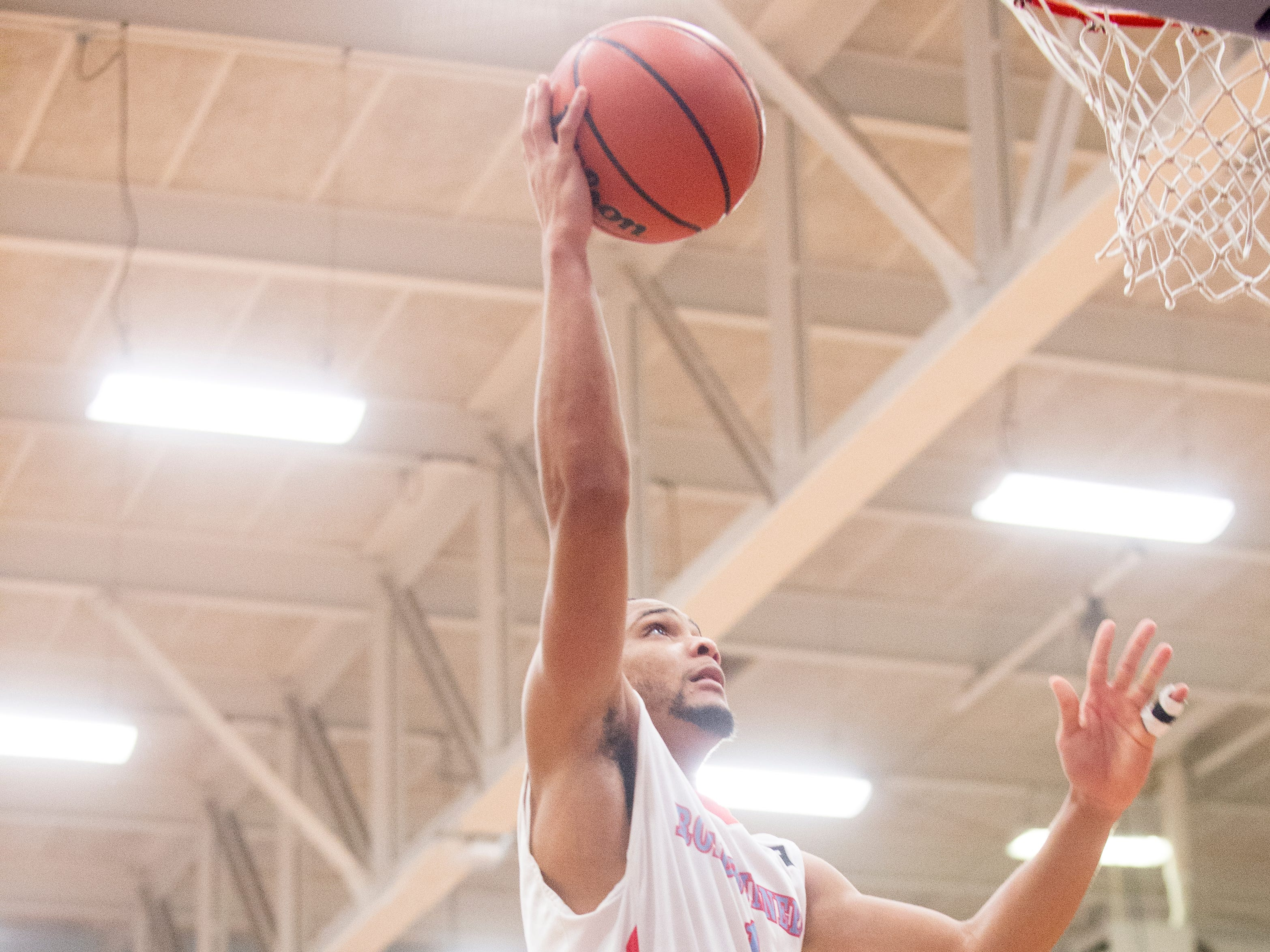 Austin-East's Wesley Allen (1) shoots the ball during a game between Austin-East and Fulton at Austin-East High School in Knoxville, Tennessee on Saturday, January 5, 2019.