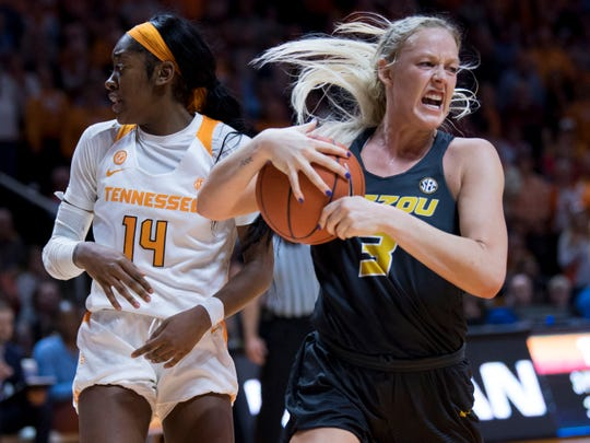 Missouri's Sophie Cunningham (3) yells out after Missouri gets possession of the ball in the final seconds of the game against Tennessee on Sunday, January 6, 2019.