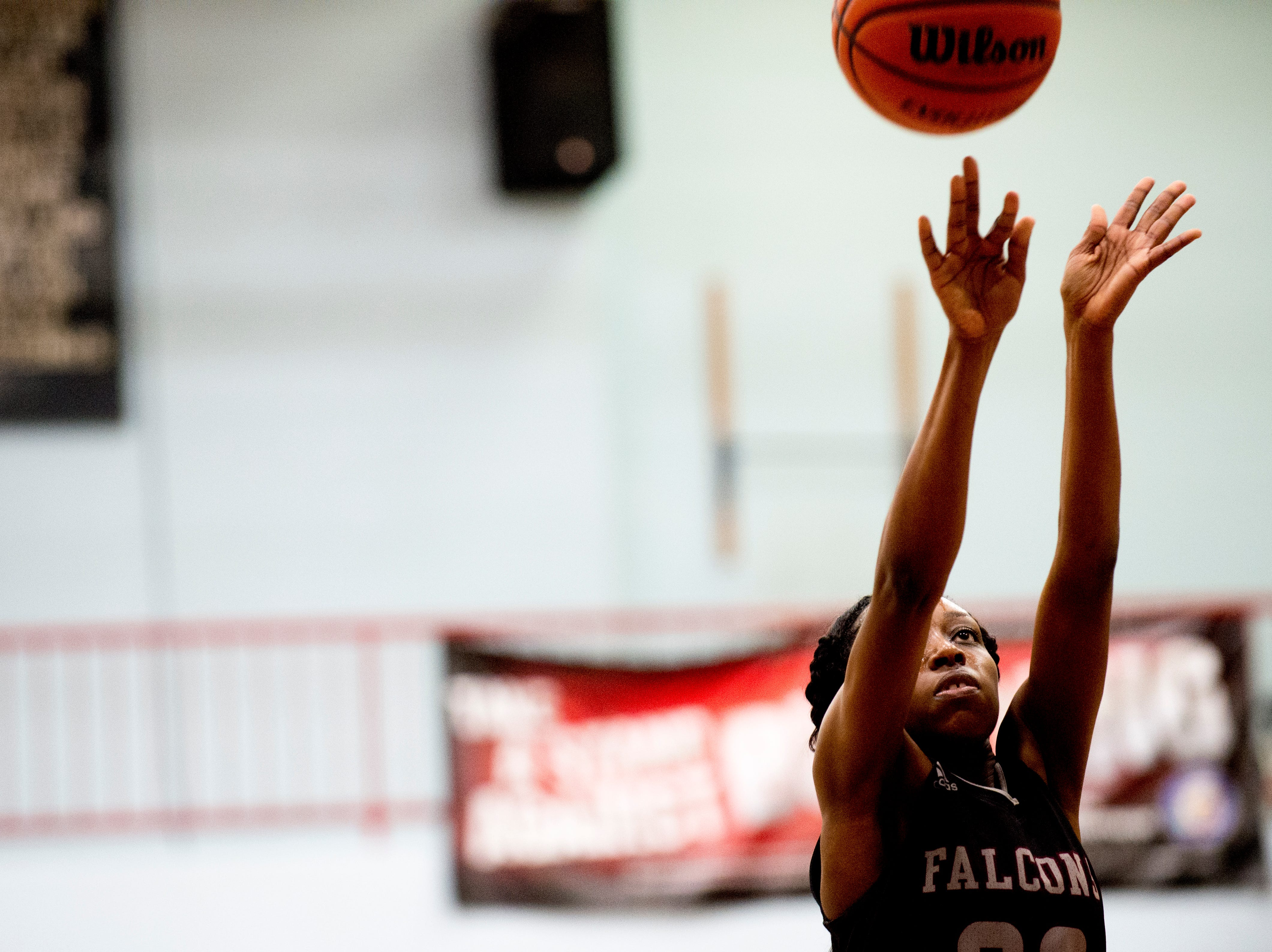Fulton's Kyeisha Dalton (23) shoots the ball during a game between Austin-East and Fulton at Austin-East High School in Knoxville, Tennessee on Saturday, January 5, 2019.
