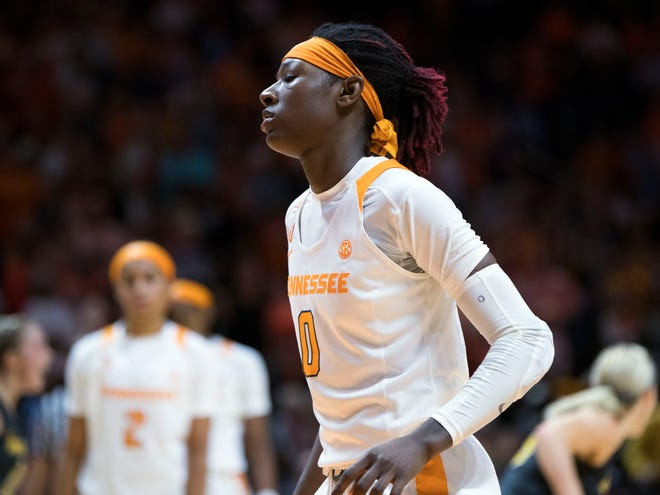 Tennessee's Rennia Davis (0) walks off the court after missing the final shot of the game against Missouri on Sunday, January 6, 2019.