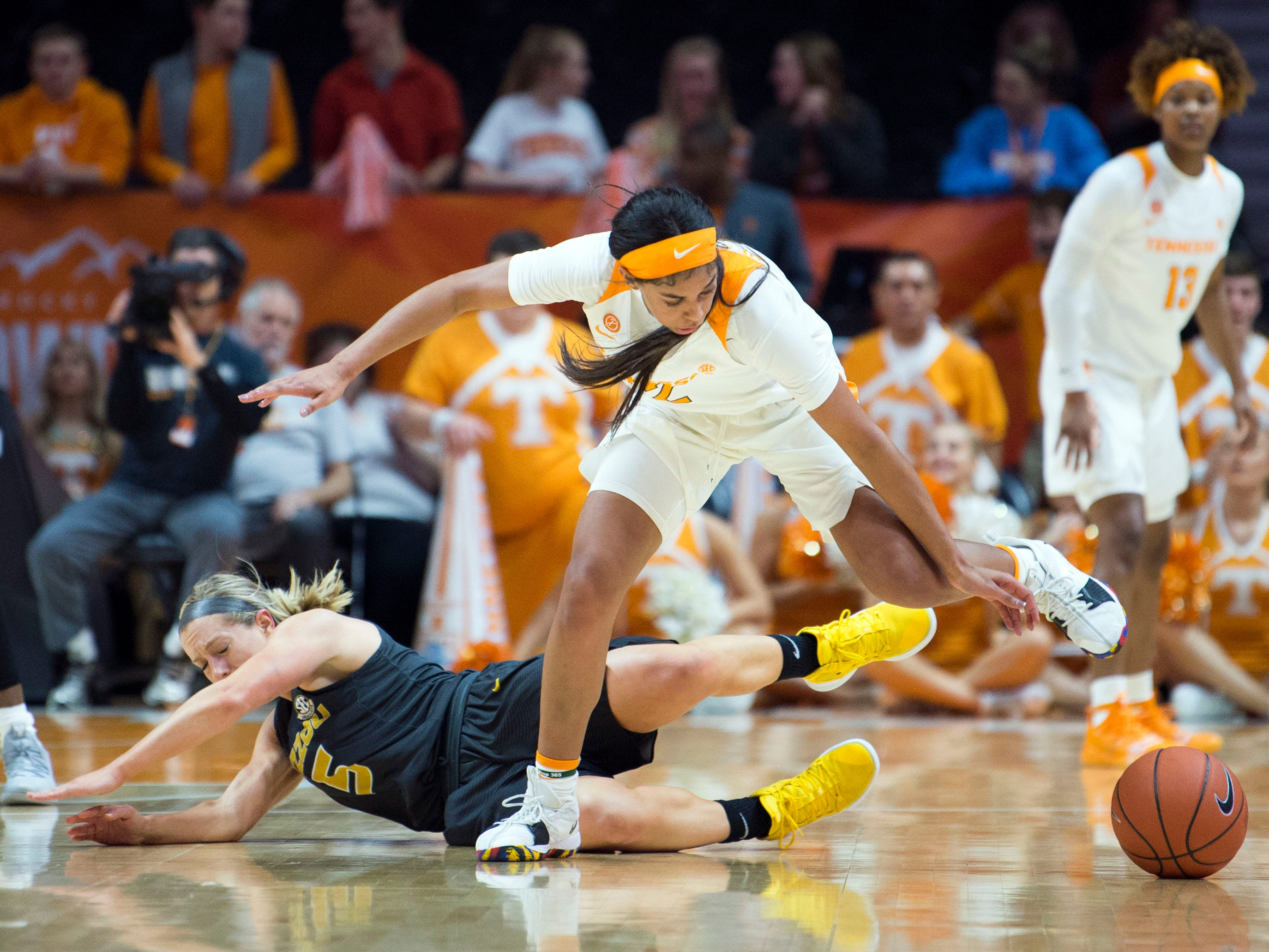 Tennessee's Evina Westbrook (2) steals the ball from Missouri's Lauren Aldridge at Thompson-Boling Arena on Sunday, January 6, 2019.