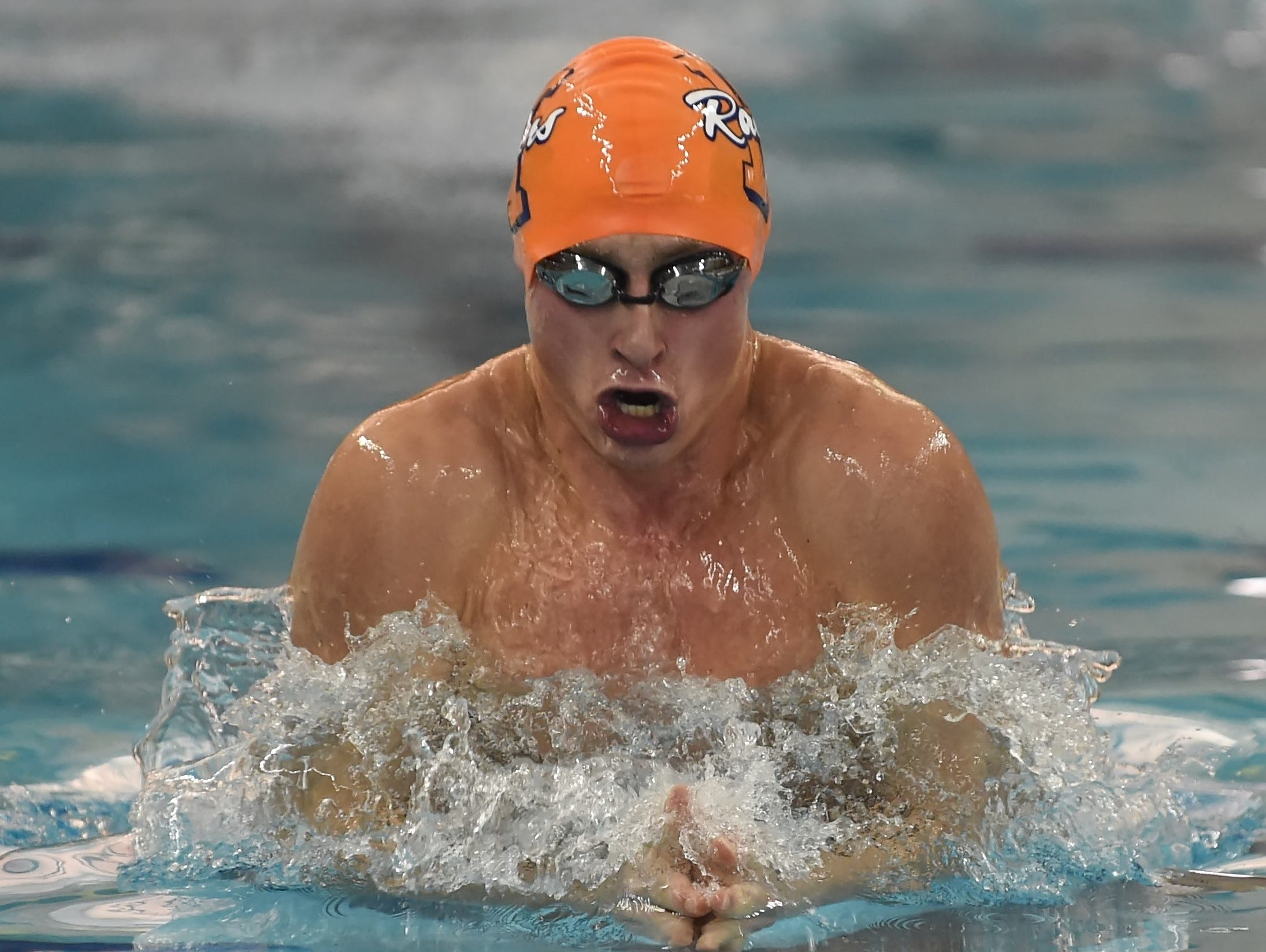 Senior Luke Johnson of Harrison cuts through the water Saturday in the North Central Conference Swimming and Diving Championships at Purdue.