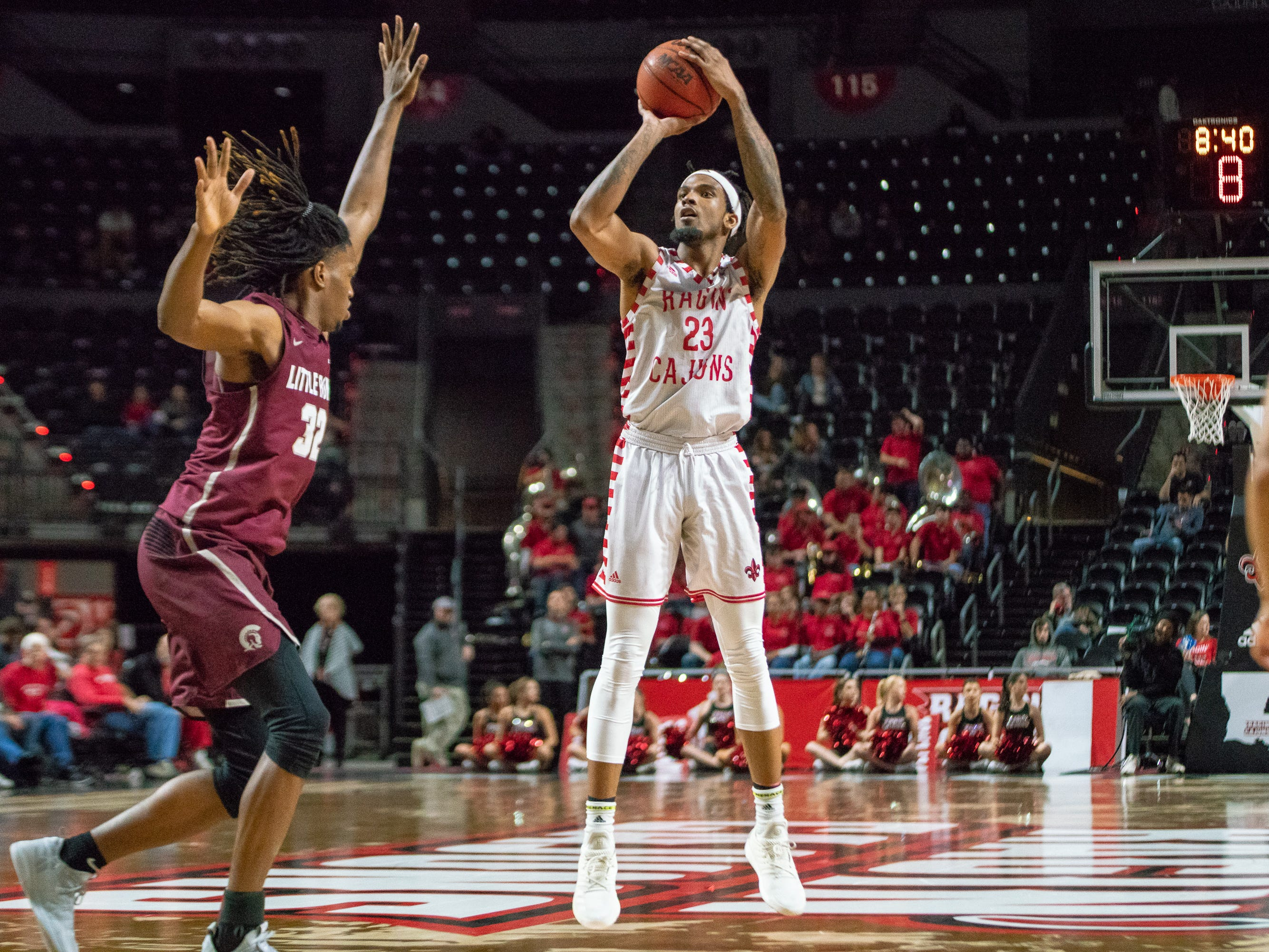 UL's Jakeenan Gant shoots from the three-point line as the Ragin' Cajuns take on the Little Rock Trojans at the Cajundome on January 5, 2019.