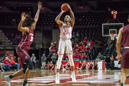 UL's JaKeenan Gant shoots during his 45-point game against Little Rock earlier this month.
