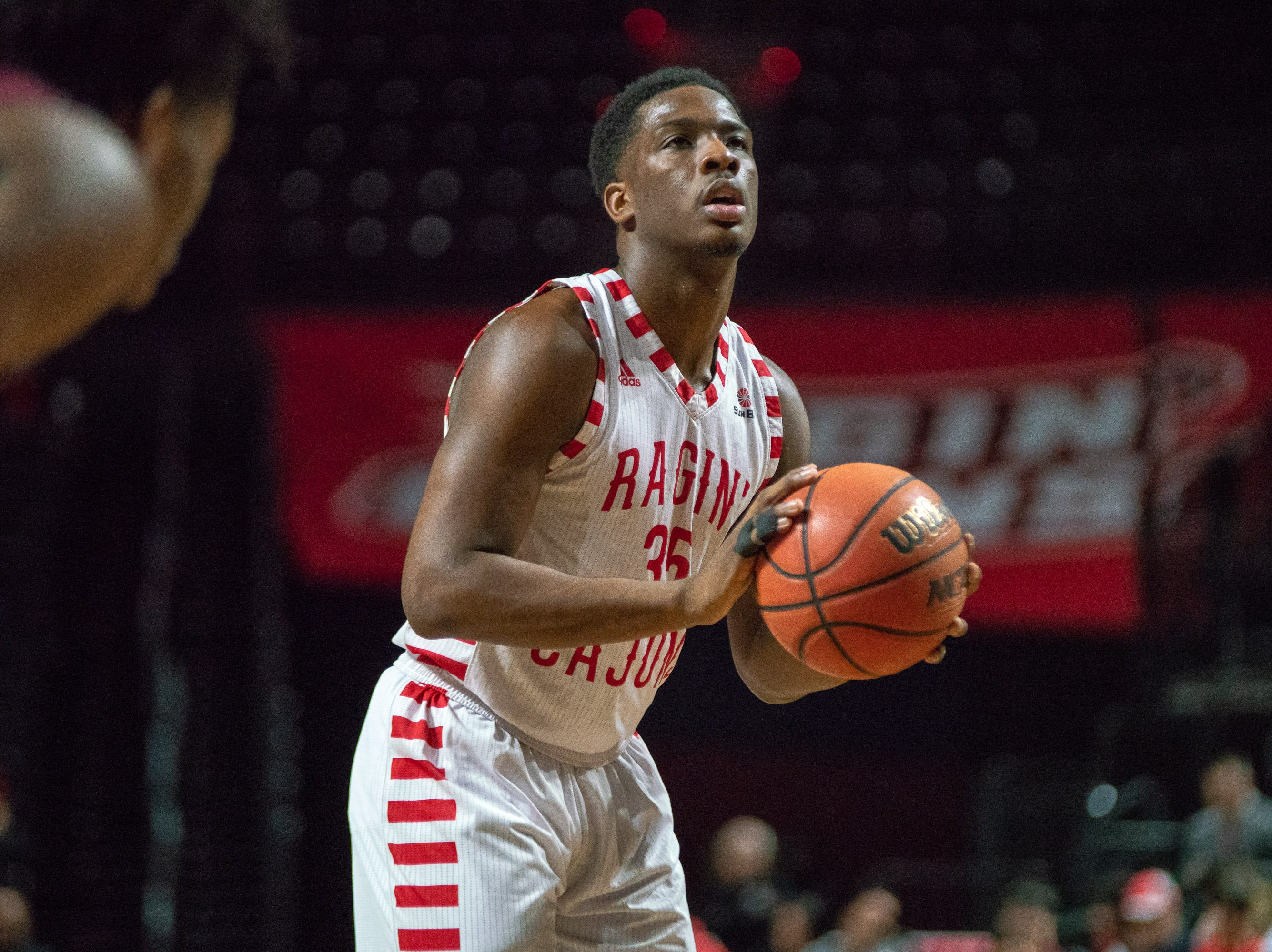 UL's Marcus Stroman shoots from the foul line as the Ragin' Cajuns take on the Little Rock Trojans at the Cajundome on January 5, 2019.