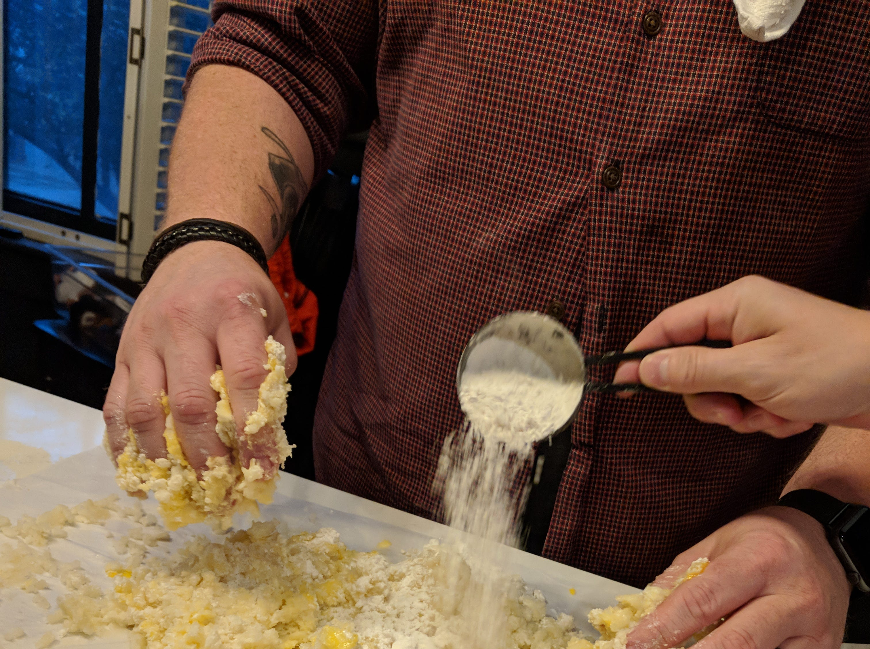 Dallas McGarity, the renowned chef behind The Fat Lamb and Portage House, said it's all about touch when knowing how much flour to add to t he gnocchi dough.