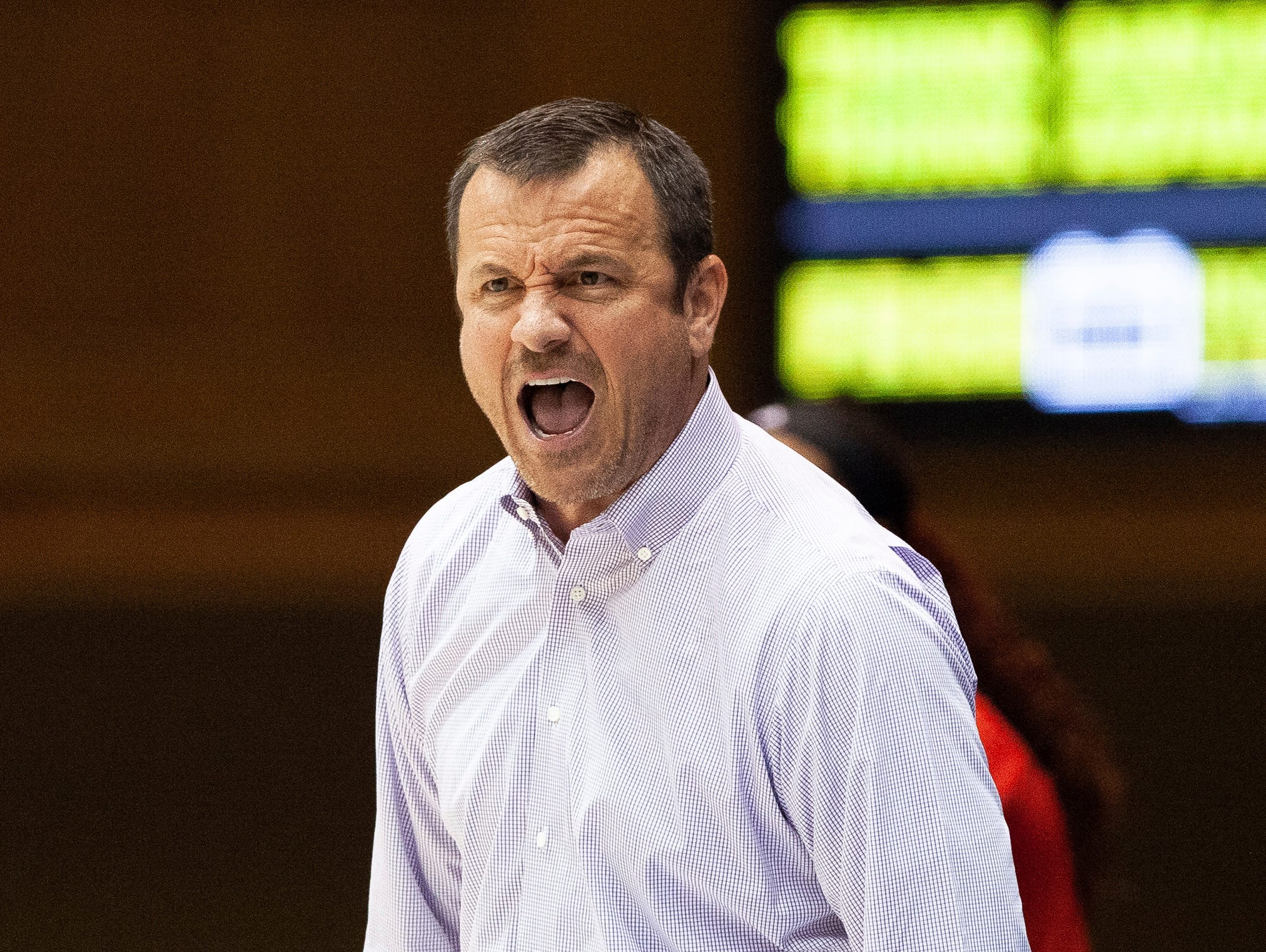 Louisville Head Coach Jeff Walz shouts toward the court during the second half of an NCAA college basketball game against Duke in Durham, N.C., Sunday, Jan. 6, 2019.