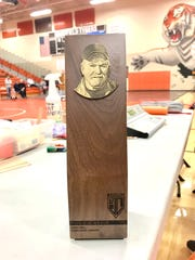 This is the Doug Castle Memorial Coach's Trophy, presented for the first time in the 57th J.C. Gorman Invitational.