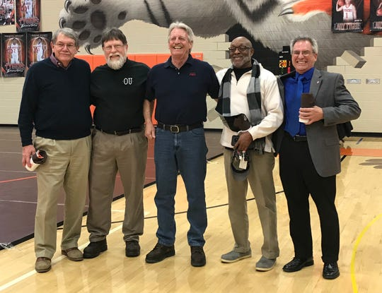 These 1968 J.C. Gorman Invitational champs, left to right, were honored prior to Saturday's finals in the 57th Gorman: Bob Friend (Madison), Phil Mayer (Madison), Gary Russell (Madison), Bruce Drye (Mansfield Senior) and Dave Salvati (Crestline). Drye was tourney MVP that year.